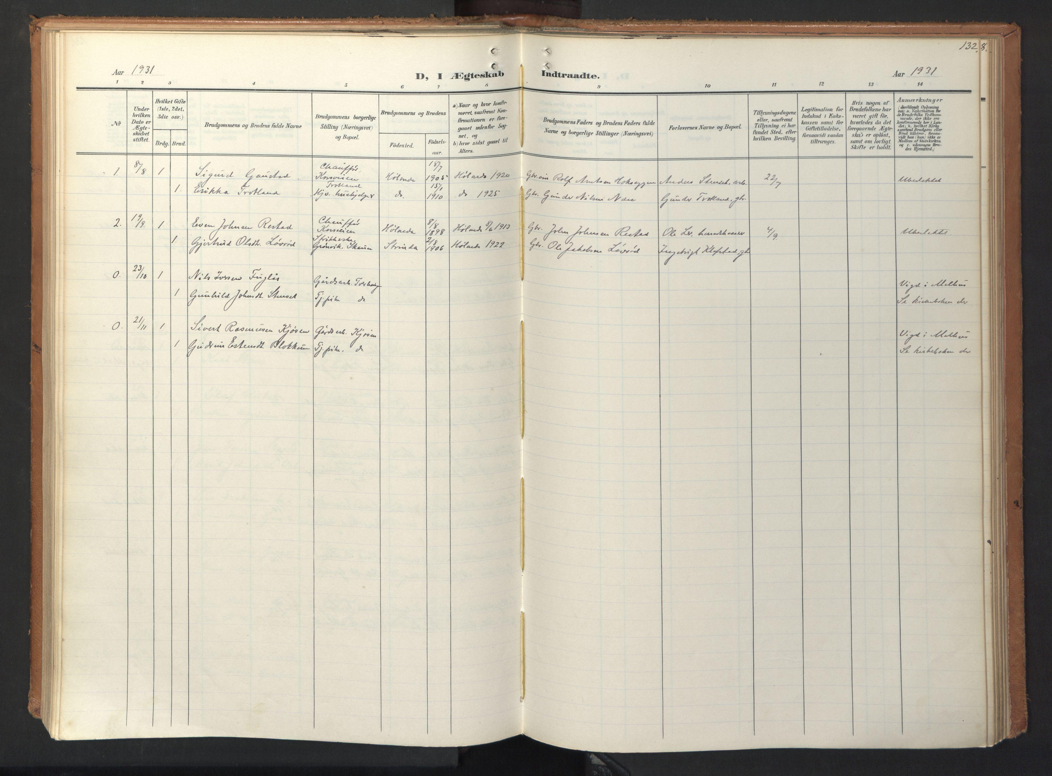 SAT, Ministerialprotokoller, klokkerbøker og fødselsregistre - Sør-Trøndelag, 694/L1128: Ministerialbok nr. 694A02, 1906-1931, s. 132