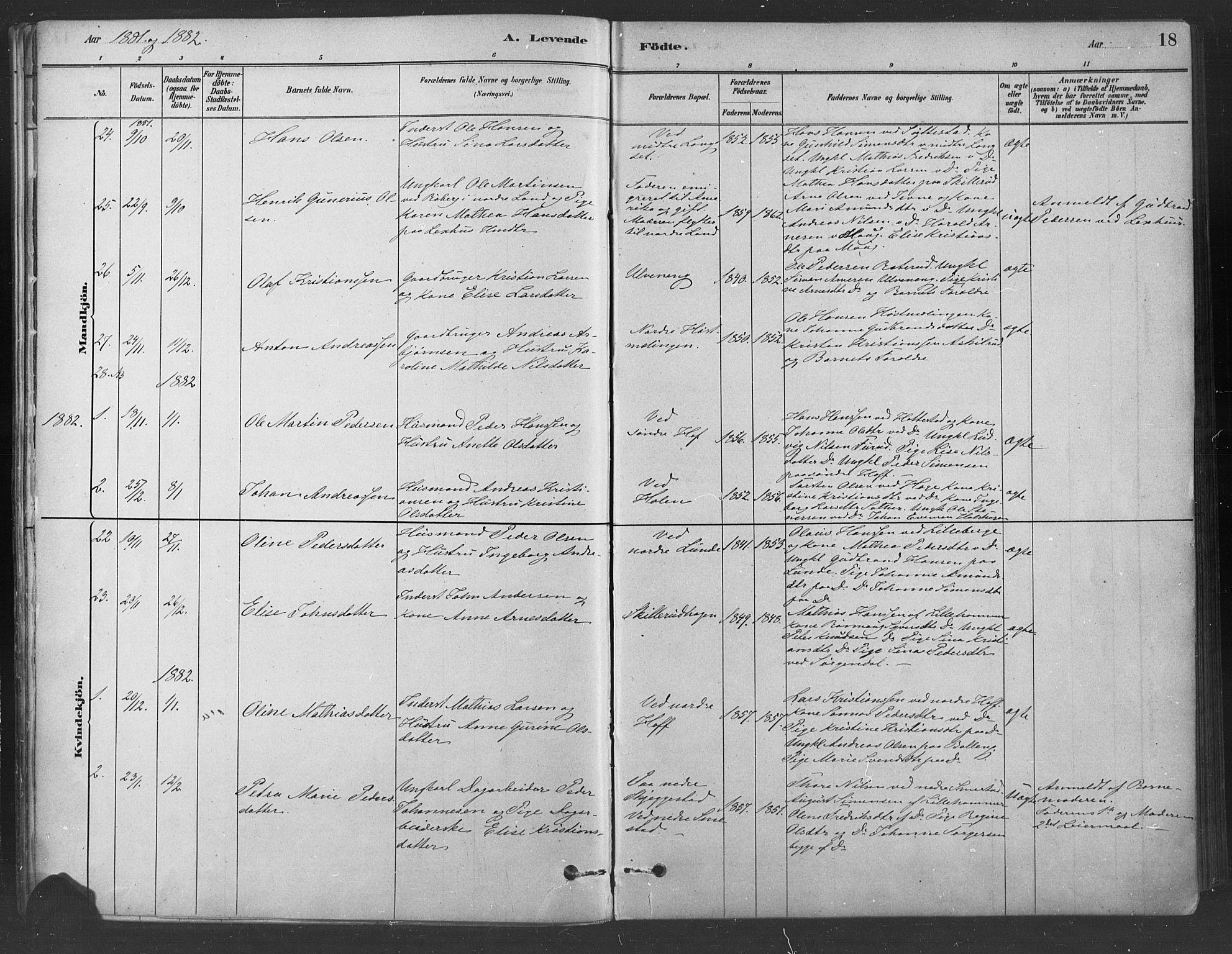 SAH, Fåberg prestekontor, Ministerialbok nr. 9, 1879-1898, s. 18