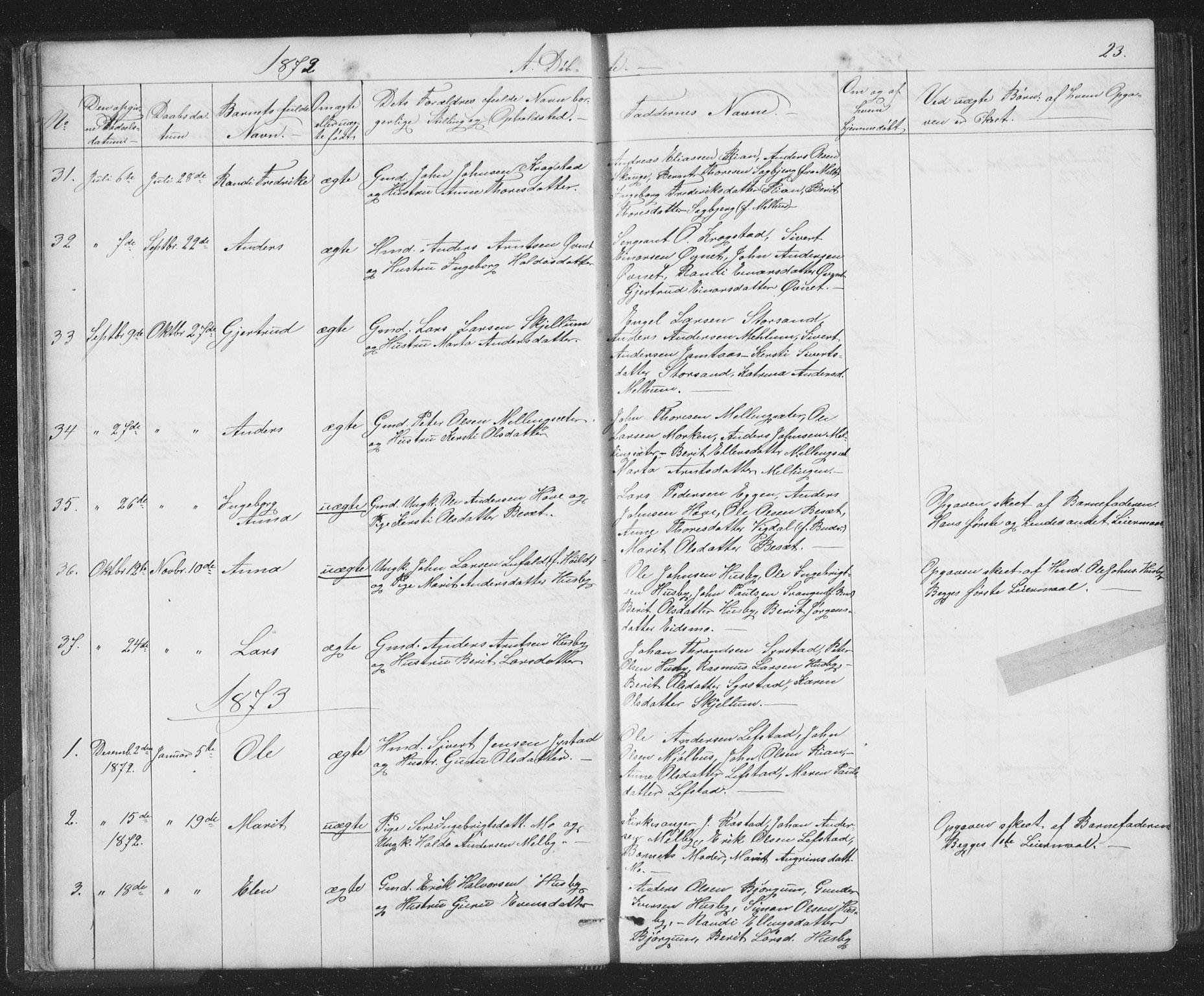 SAT, Ministerialprotokoller, klokkerbøker og fødselsregistre - Sør-Trøndelag, 667/L0798: Klokkerbok nr. 667C03, 1867-1929, s. 23