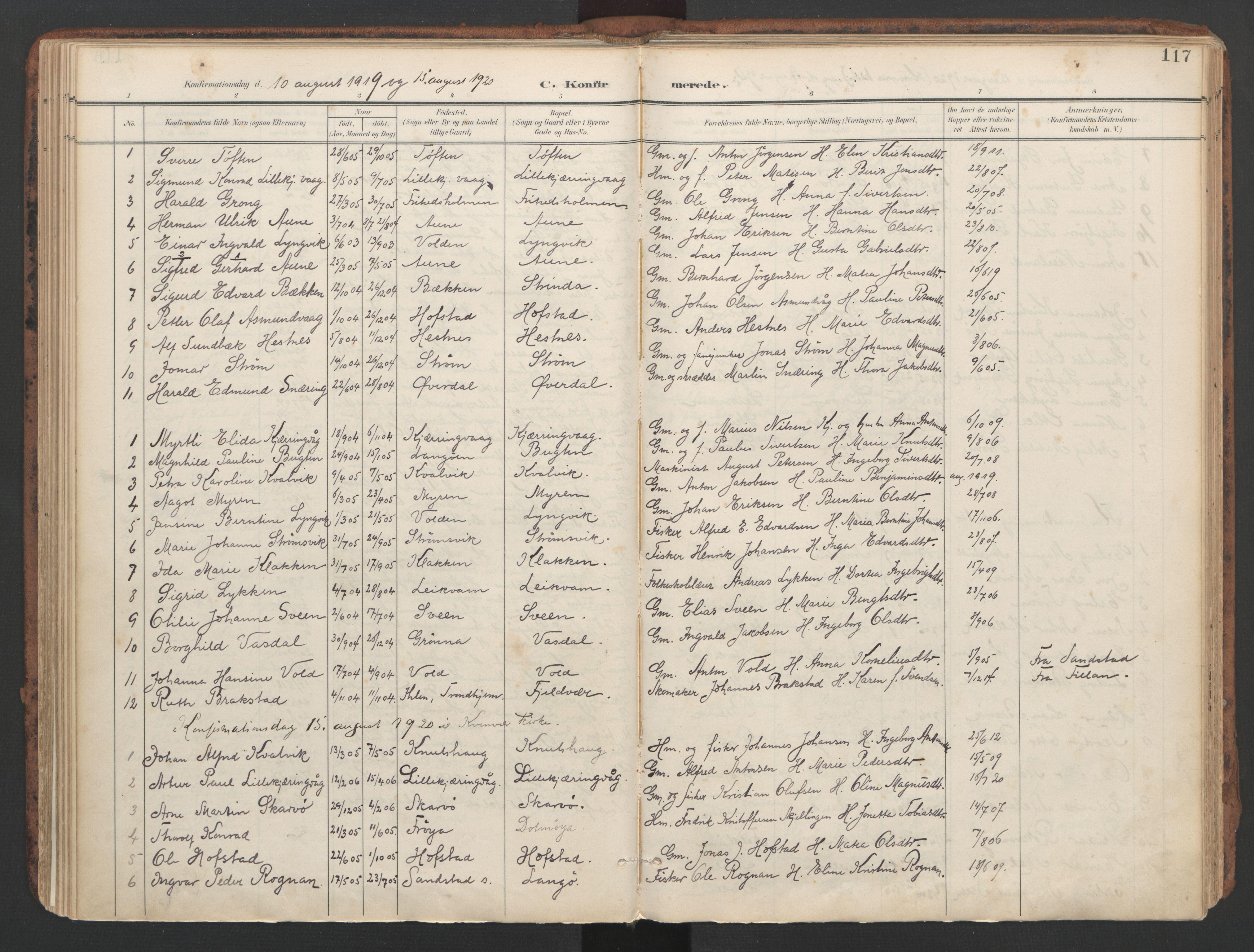 SAT, Ministerialprotokoller, klokkerbøker og fødselsregistre - Sør-Trøndelag, 634/L0537: Ministerialbok nr. 634A13, 1896-1922, s. 117
