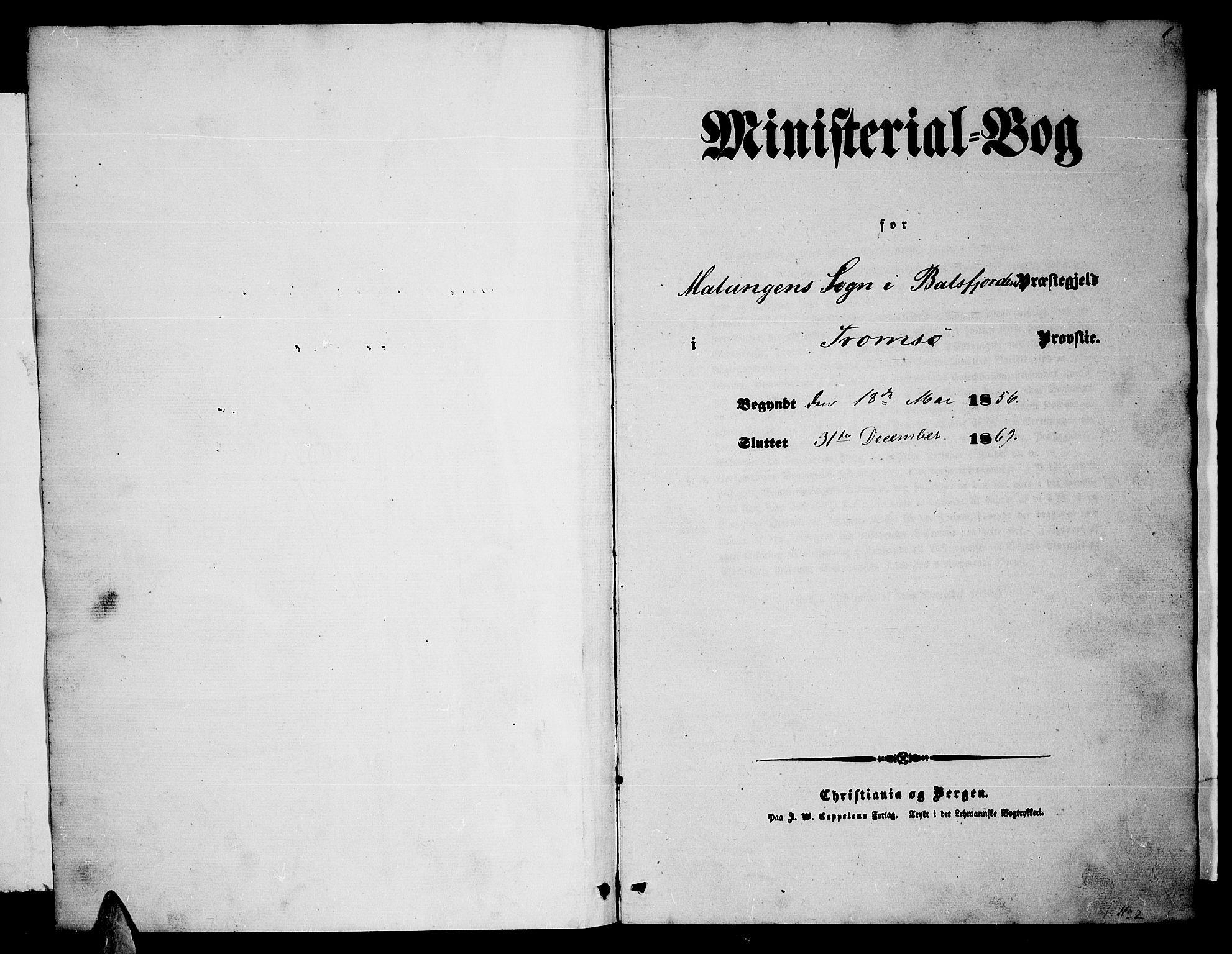SATØ, Balsfjord sokneprestembete, Klokkerbok nr. 1, 1856-1869, s. 1
