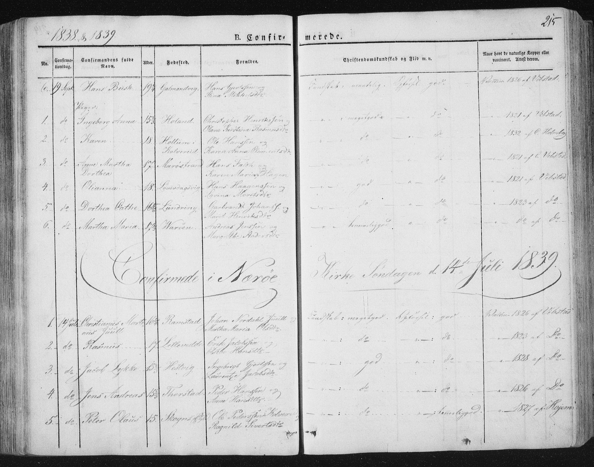 SAT, Ministerialprotokoller, klokkerbøker og fødselsregistre - Nord-Trøndelag, 784/L0669: Ministerialbok nr. 784A04, 1829-1859, s. 215