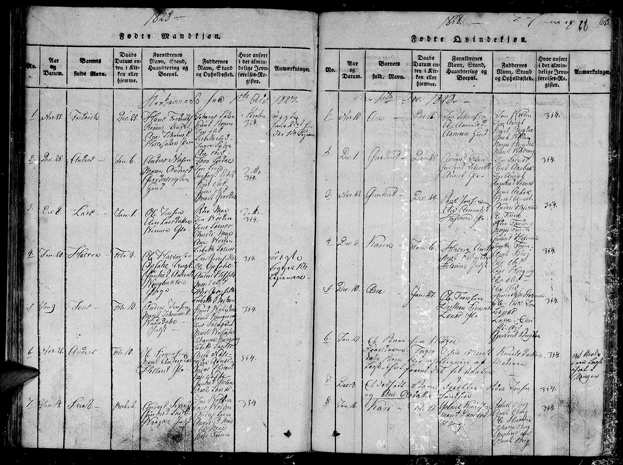 SAT, Ministerialprotokoller, klokkerbøker og fødselsregistre - Sør-Trøndelag, 630/L0491: Ministerialbok nr. 630A04, 1818-1830, s. 68