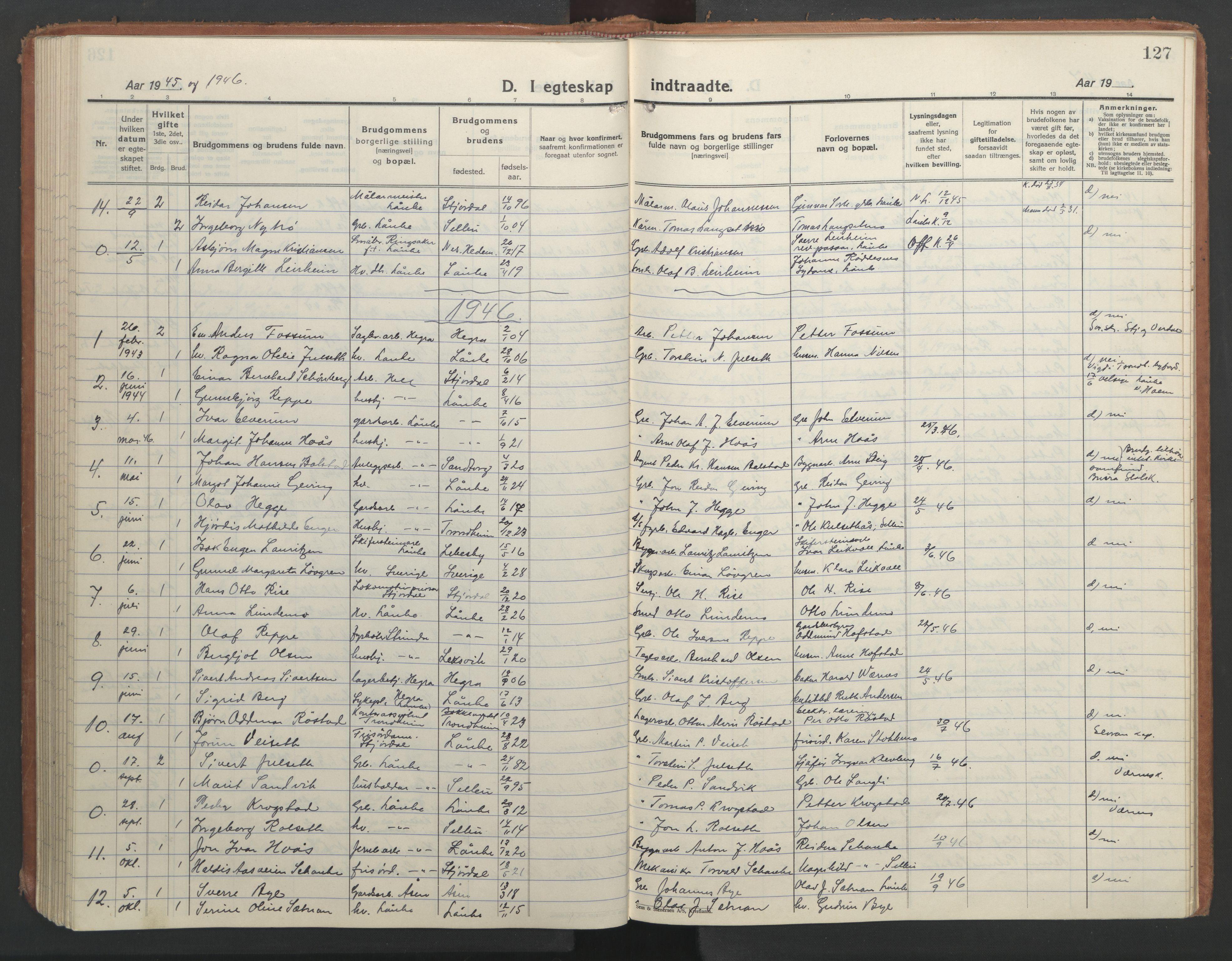 SAT, Ministerialprotokoller, klokkerbøker og fødselsregistre - Nord-Trøndelag, 710/L0097: Klokkerbok nr. 710C02, 1925-1955, s. 127