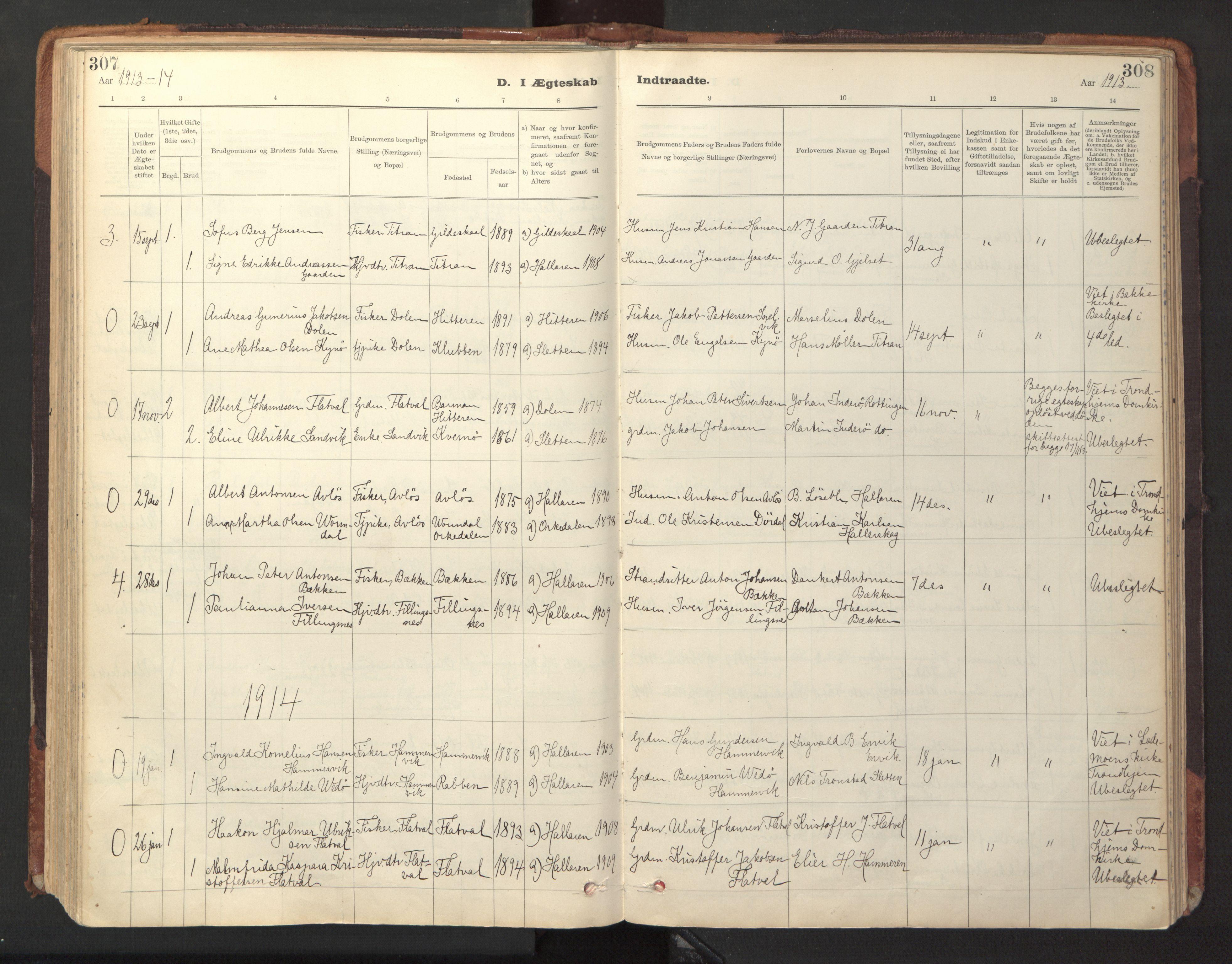 SAT, Ministerialprotokoller, klokkerbøker og fødselsregistre - Sør-Trøndelag, 641/L0596: Ministerialbok nr. 641A02, 1898-1915, s. 307-308