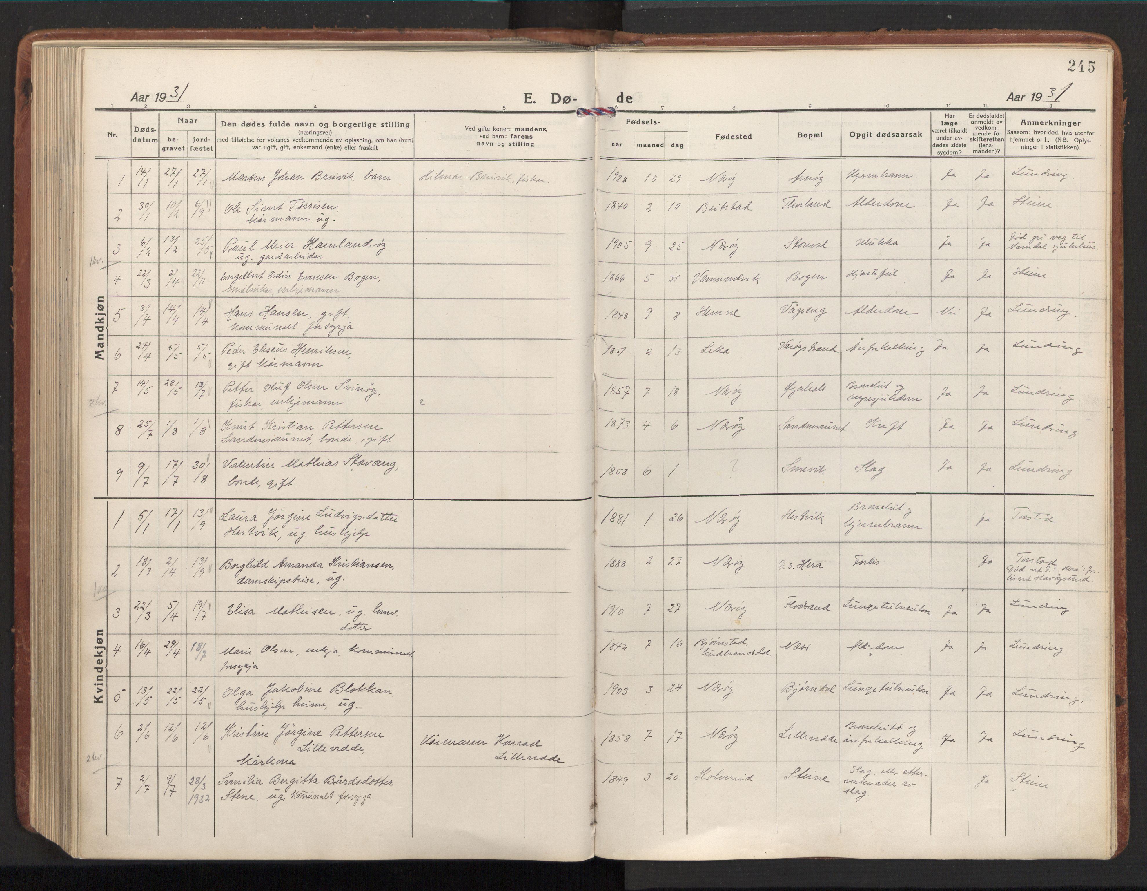 SAT, Ministerialprotokoller, klokkerbøker og fødselsregistre - Nord-Trøndelag, 784/L0678: Ministerialbok nr. 784A13, 1921-1938, s. 245