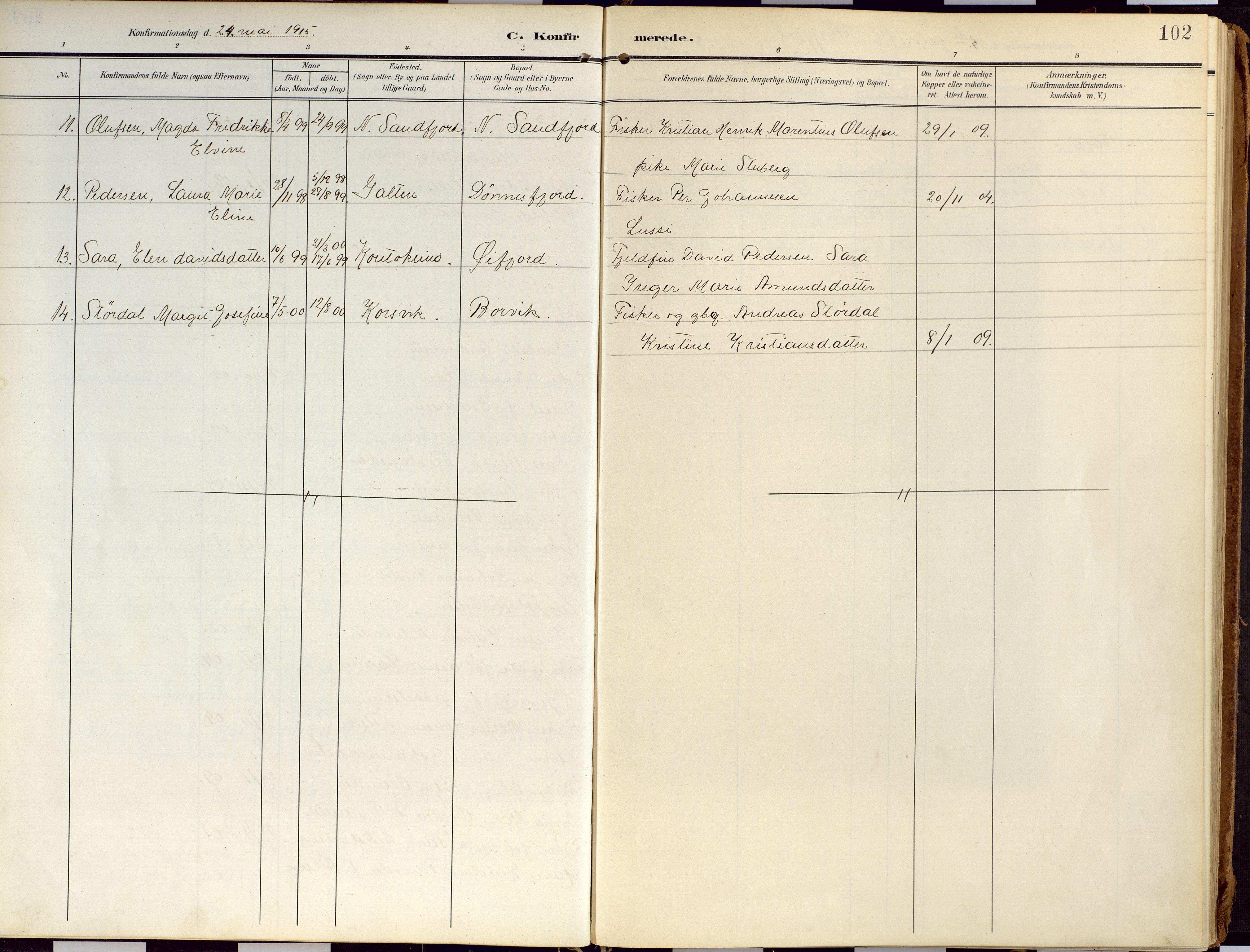 SATØ, Loppa sokneprestkontor, H/Ha/L0010kirke: Ministerialbok nr. 10, 1907-1922, s. 102