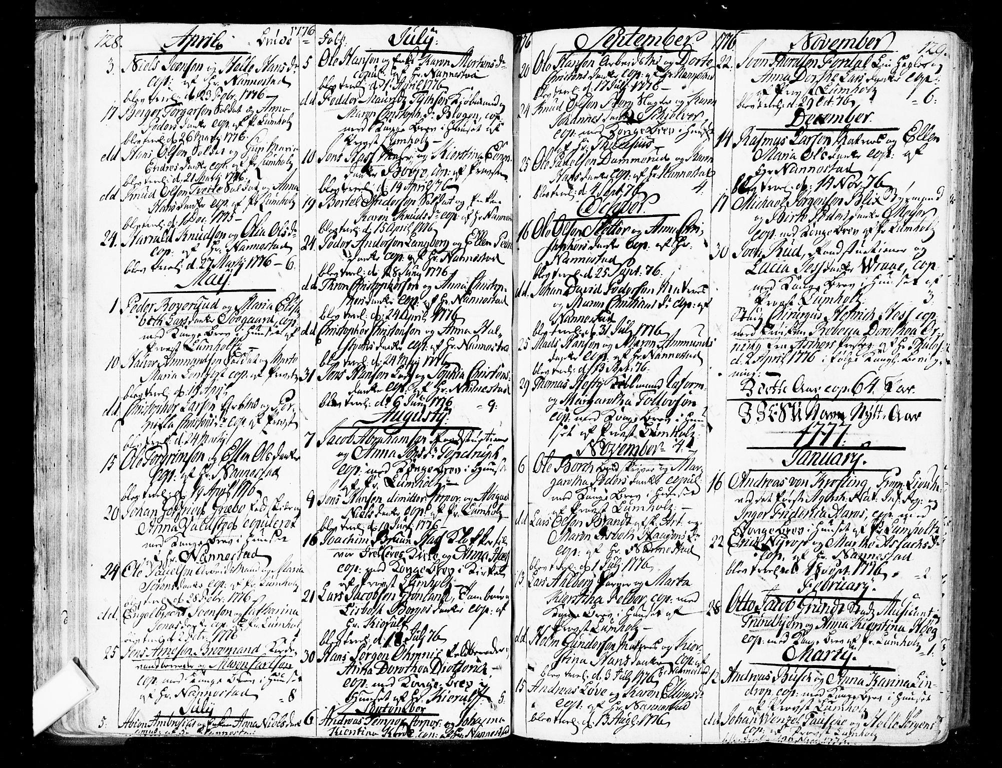 SAO, Oslo domkirke Kirkebøker, F/Fa/L0004: Ministerialbok nr. 4, 1743-1786, s. 128-129