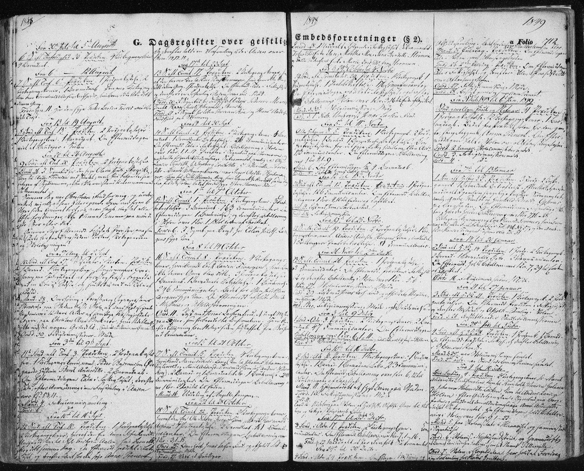 SAT, Ministerialprotokoller, klokkerbøker og fødselsregistre - Sør-Trøndelag, 681/L0931: Ministerialbok nr. 681A09, 1845-1859, s. 712