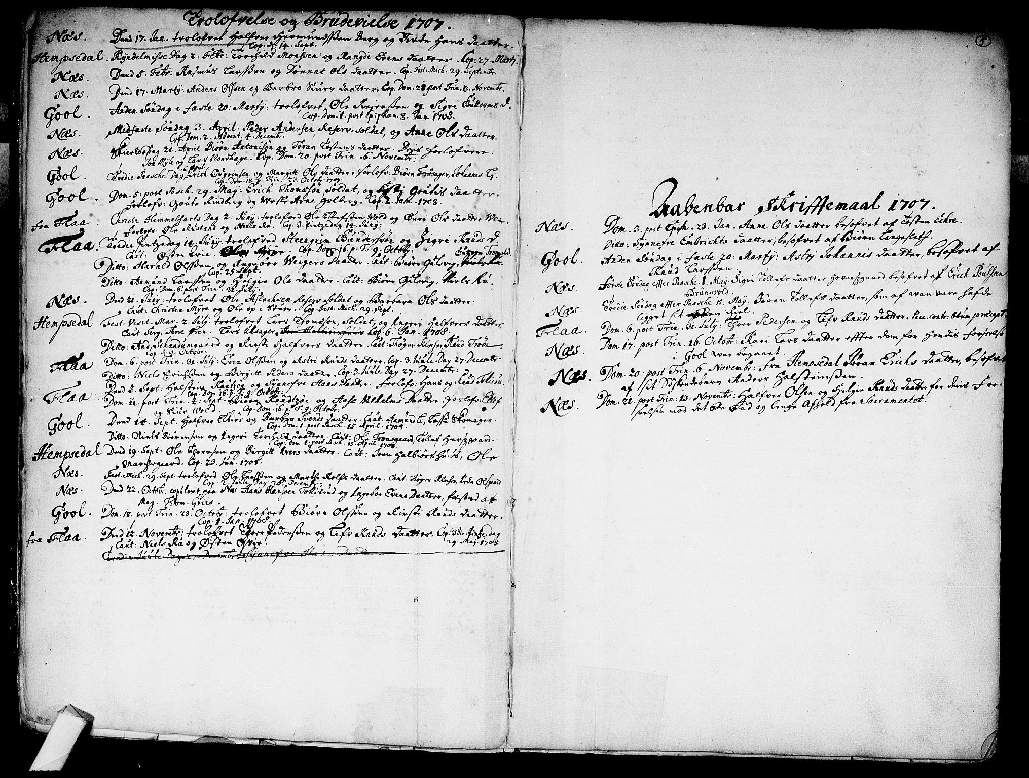 SAKO, Nes kirkebøker, F/Fa/L0002: Ministerialbok nr. 2, 1707-1759, s. 5