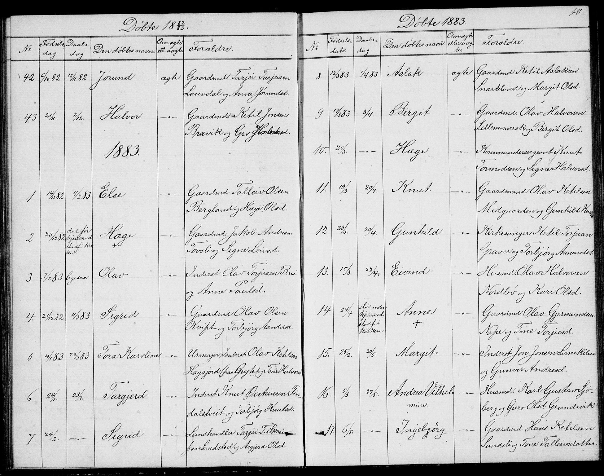 SAKO, Fyresdal kirkebøker, G/Ga/L0004: Klokkerbok nr. I 4, 1864-1892, s. 48