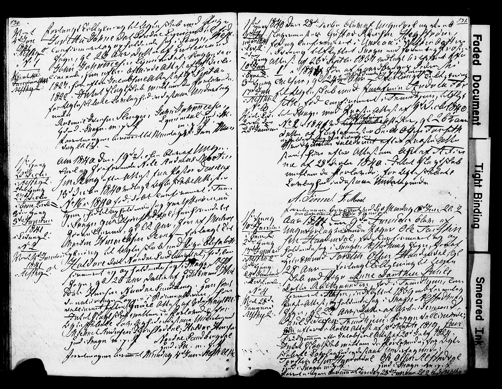 SAT, Ministerialprotokoller, klokkerbøker og fødselsregistre - Nord-Trøndelag, 717/L0160: Forlovererklæringer nr. 717A10, 1828-1850, s. 190-191