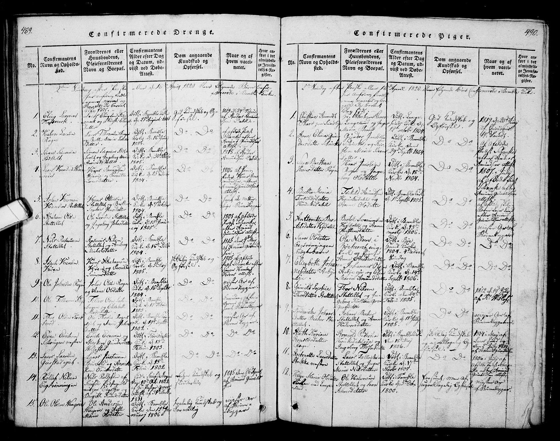 SAKO, Bamble kirkebøker, G/Ga/L0005: Klokkerbok nr. I 5, 1814-1855, s. 489-490