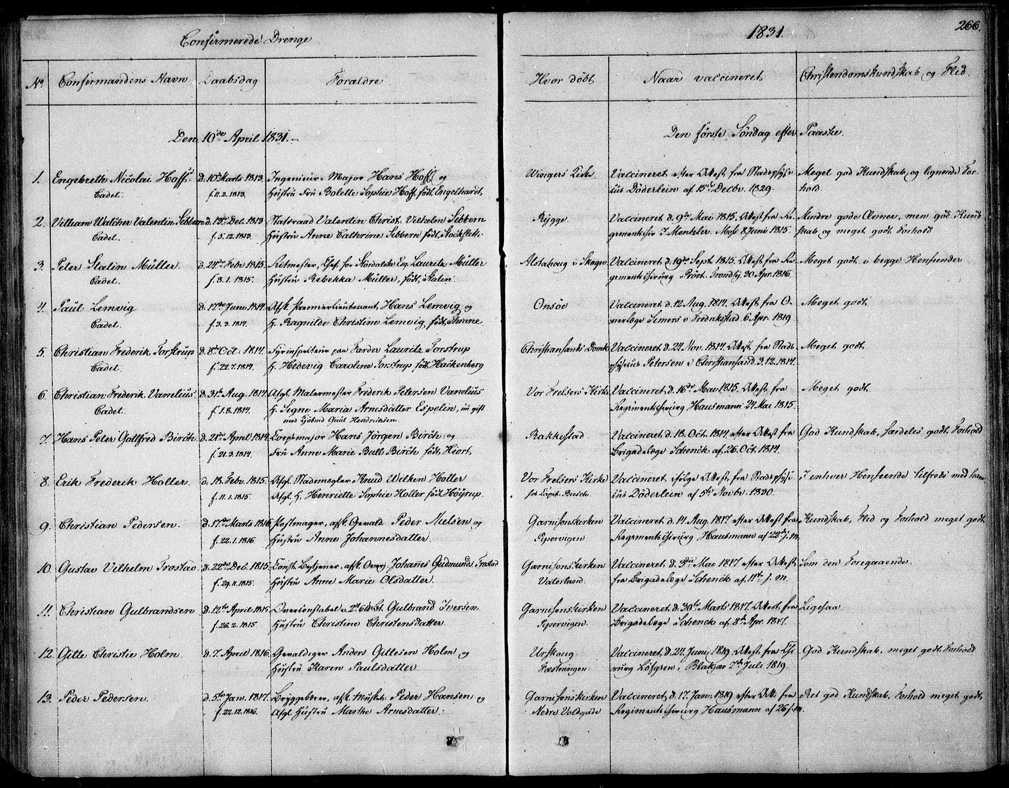 SAO, Garnisonsmenigheten Kirkebøker, F/Fa/L0006: Ministerialbok nr. 6, 1828-1841, s. 266
