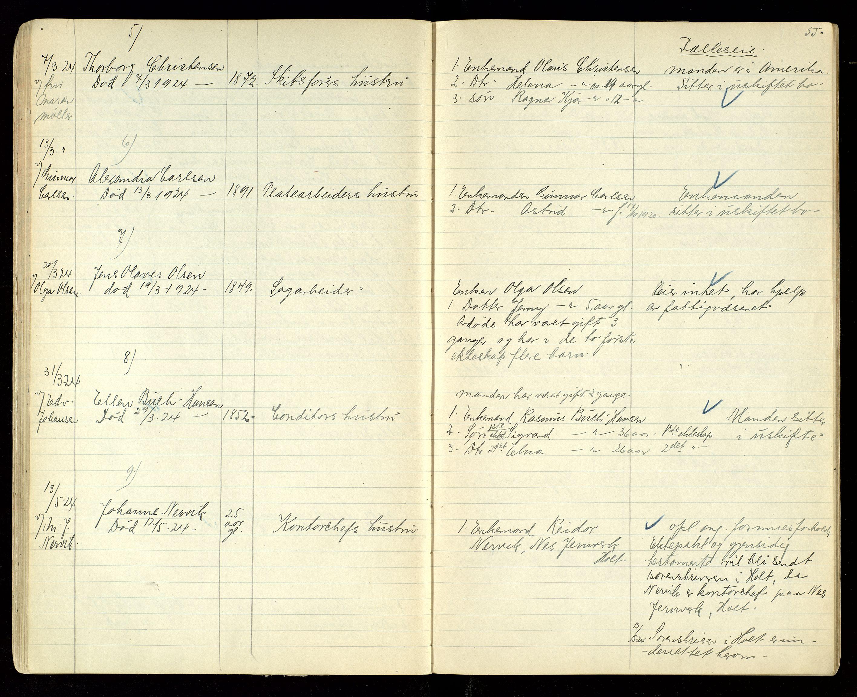SAK, Søndeled lensmannskontor, F/Fe/L0002: Dødsfallsprotokoller, 1919-1928, s. 55