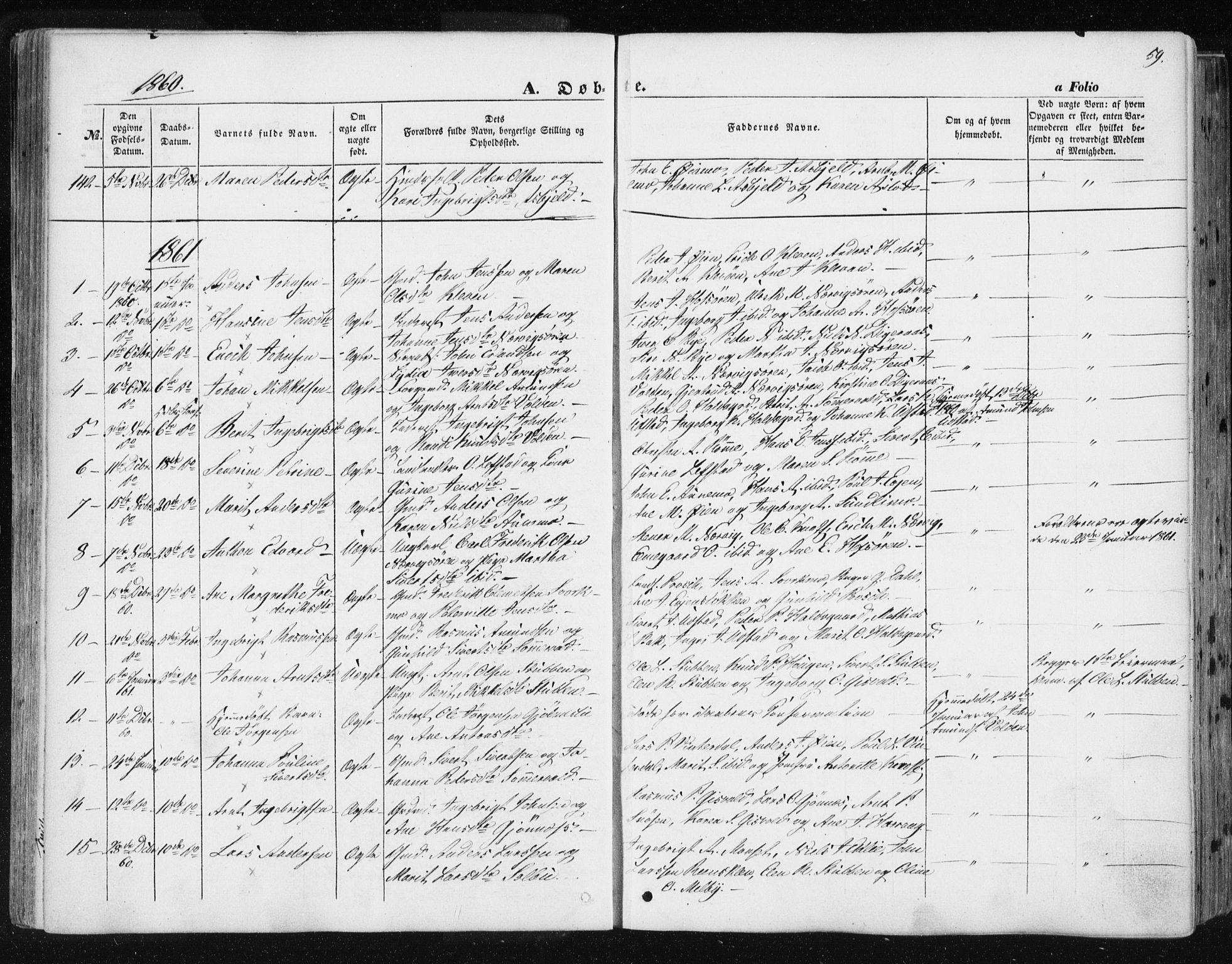 SAT, Ministerialprotokoller, klokkerbøker og fødselsregistre - Sør-Trøndelag, 668/L0806: Ministerialbok nr. 668A06, 1854-1869, s. 59