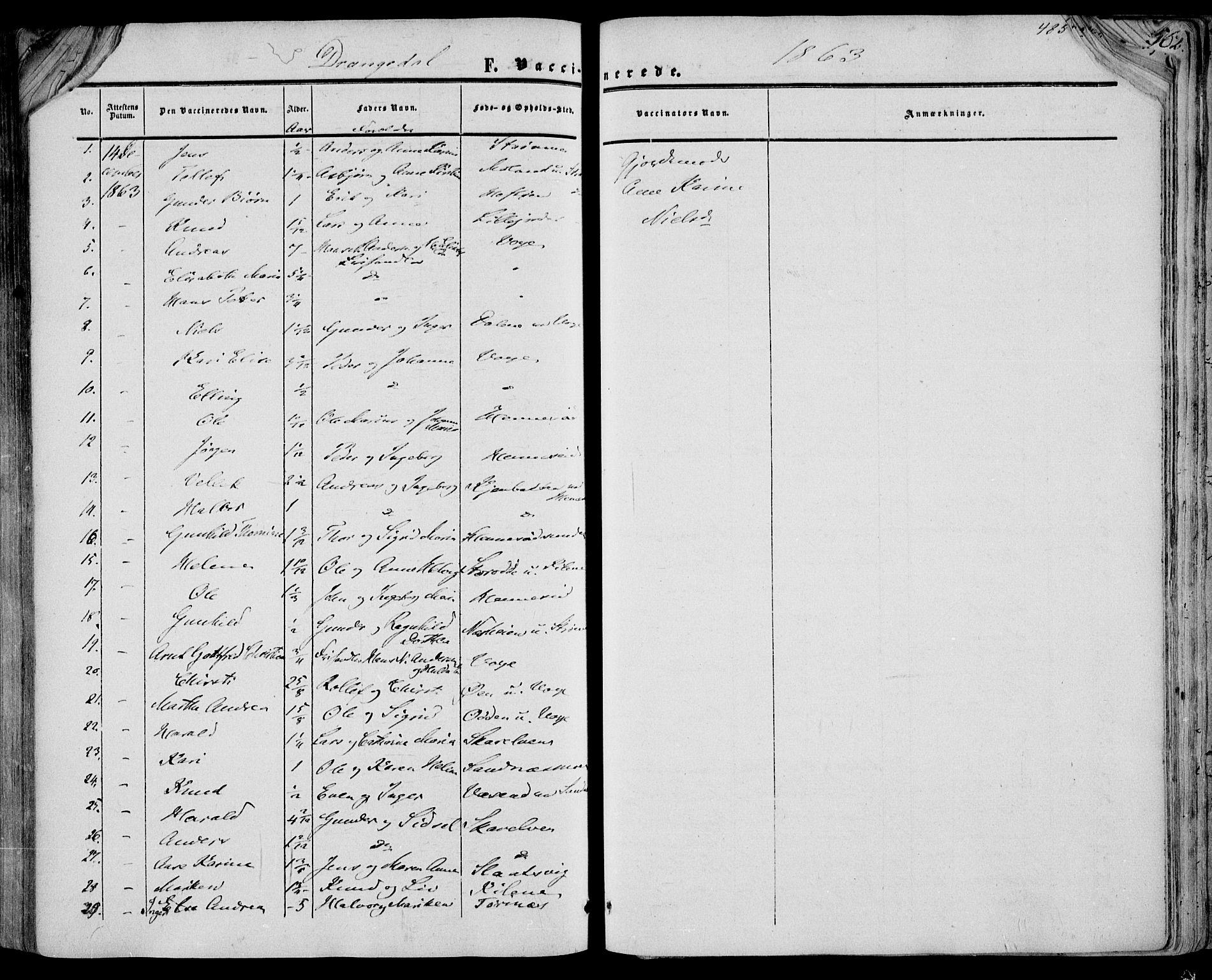 SAKO, Drangedal kirkebøker, F/Fa/L0008: Ministerialbok nr. 8, 1857-1871, s. 485