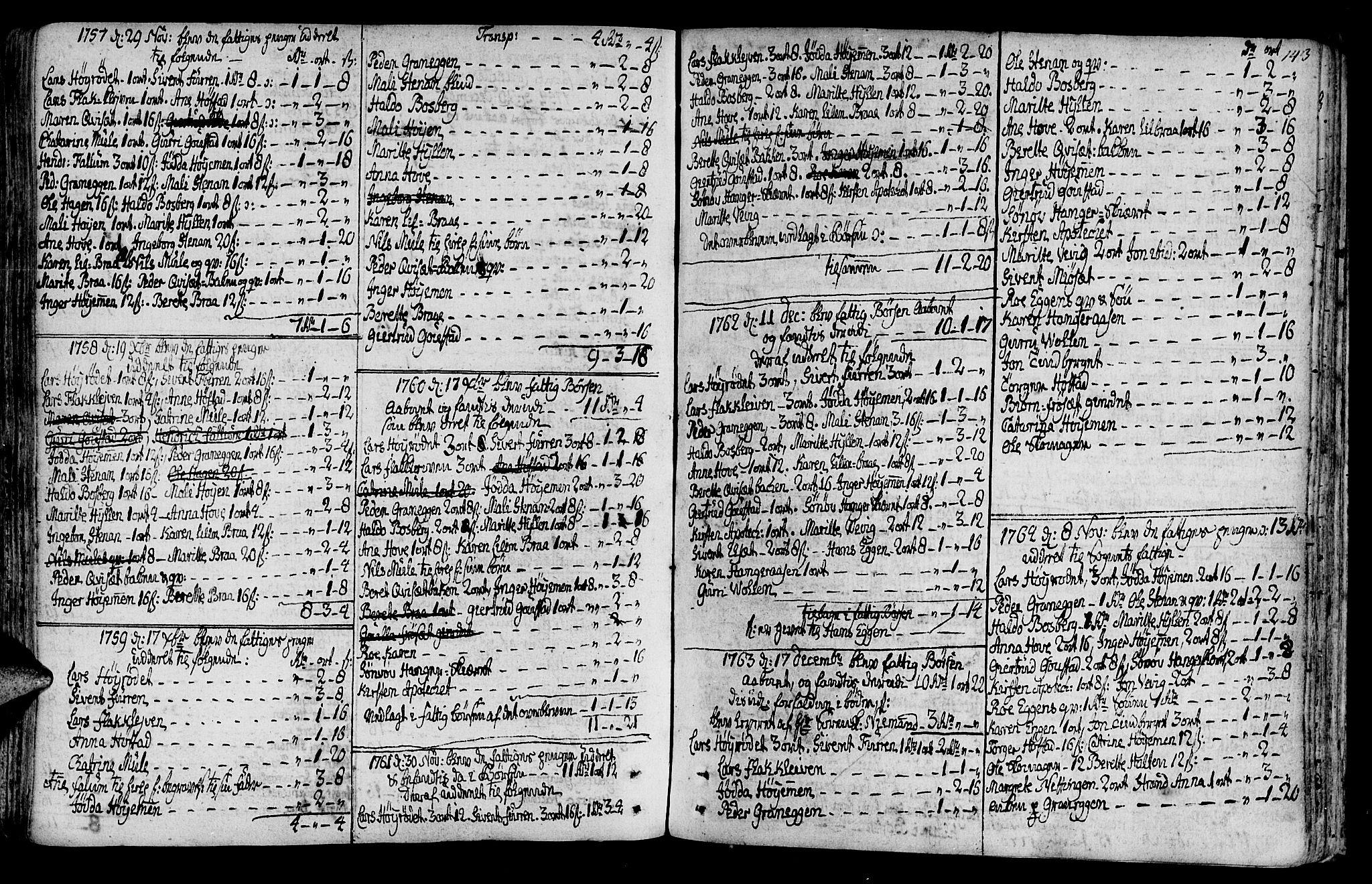 SAT, Ministerialprotokoller, klokkerbøker og fødselsregistre - Sør-Trøndelag, 612/L0370: Ministerialbok nr. 612A04, 1754-1802, s. 143