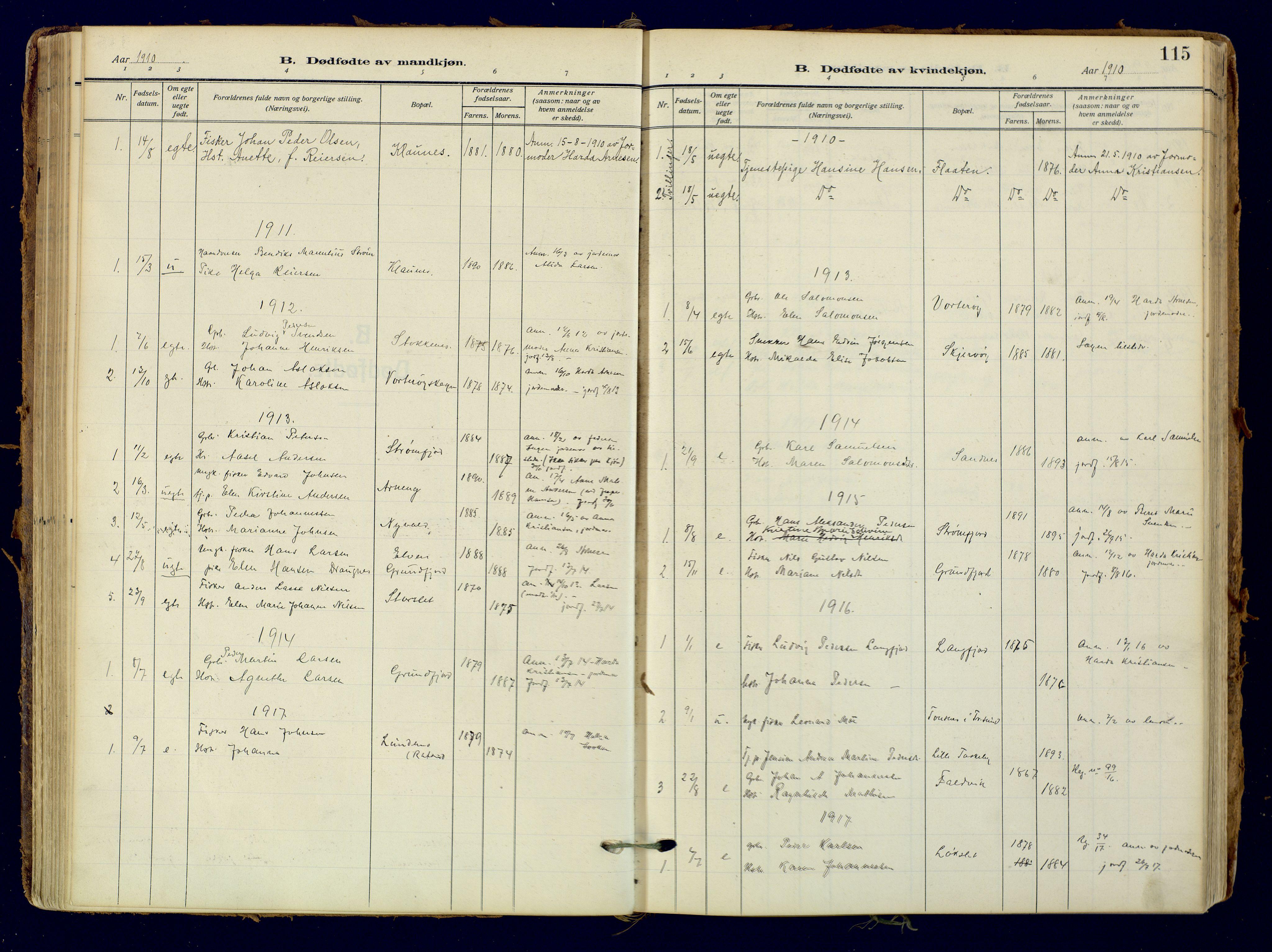 SATØ, Skjervøy sokneprestkontor, H/Ha/Haa: Ministerialbok nr. 18, 1910-1926, s. 115