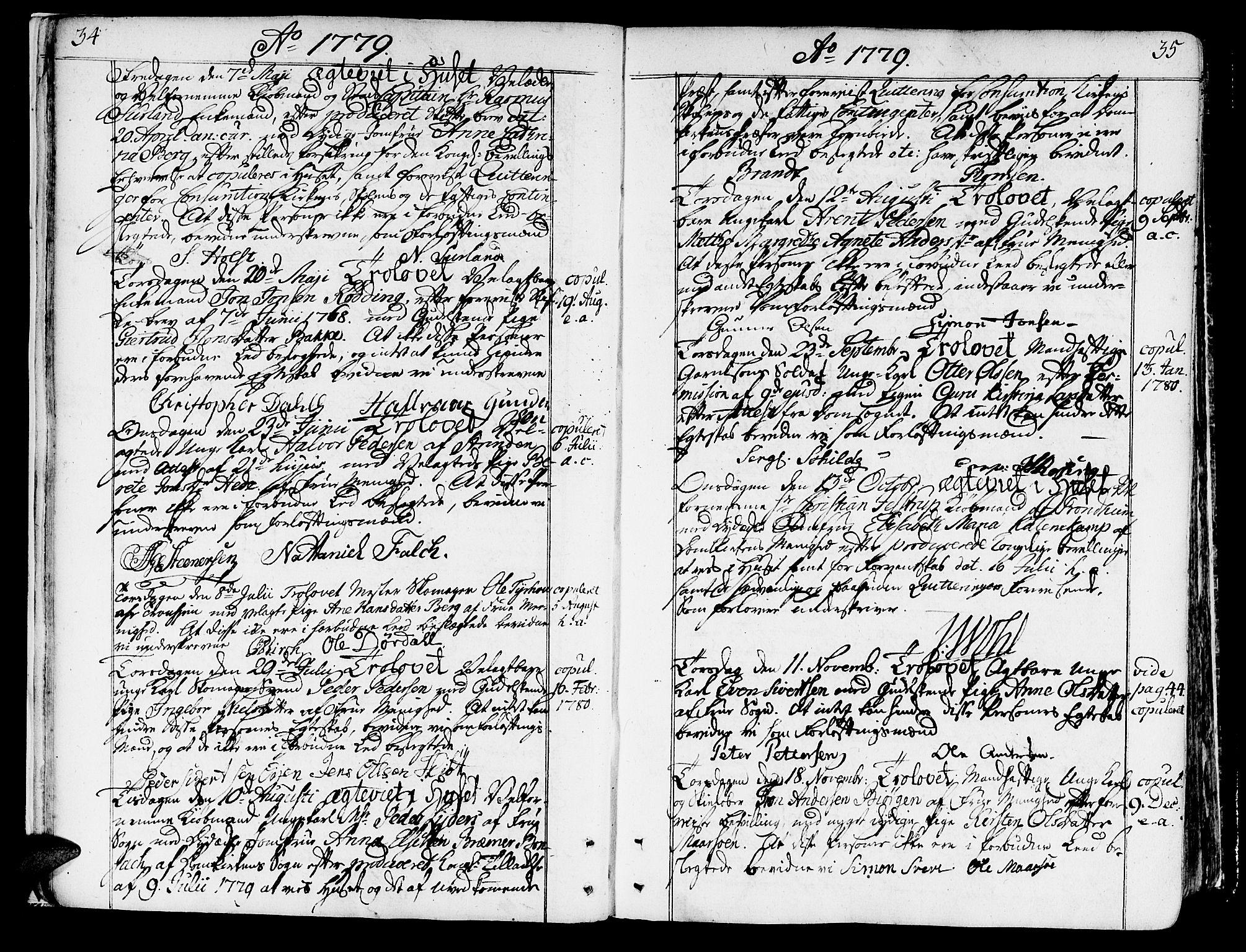 SAT, Ministerialprotokoller, klokkerbøker og fødselsregistre - Sør-Trøndelag, 602/L0105: Ministerialbok nr. 602A03, 1774-1814, s. 34-35