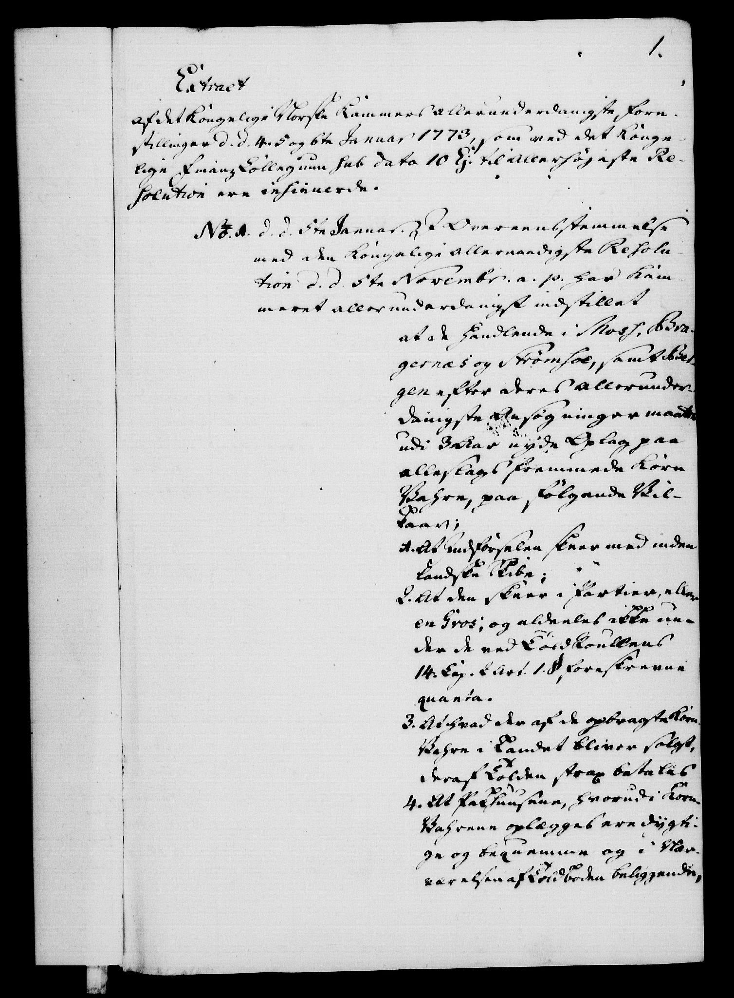 RA, Rentekammeret, Kammerkanselliet, G/Gf/Gfa/L0055: Norsk relasjons- og resolusjonsprotokoll (merket RK 52.55), 1773, s. 7
