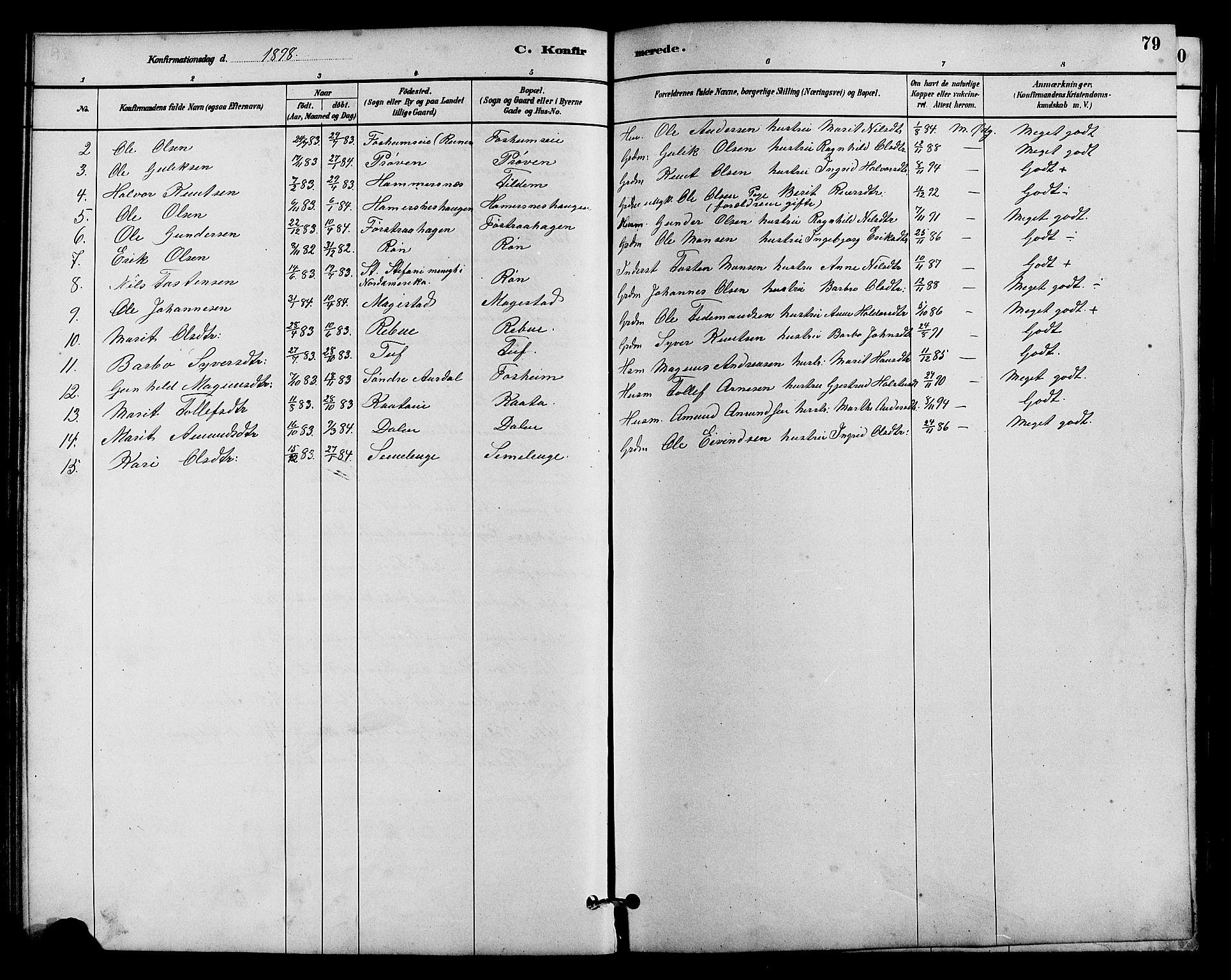 SAH, Vestre Slidre prestekontor, Klokkerbok nr. 5, 1881-1913, s. 79