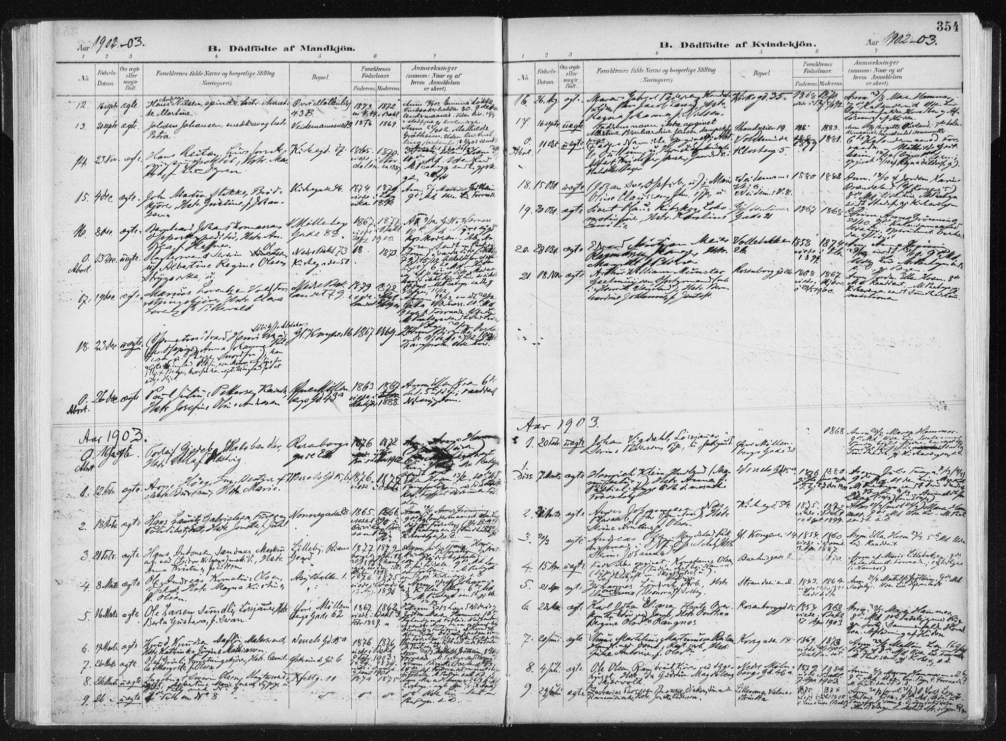 SAT, Ministerialprotokoller, klokkerbøker og fødselsregistre - Sør-Trøndelag, 604/L0200: Ministerialbok nr. 604A20II, 1901-1908, s. 354