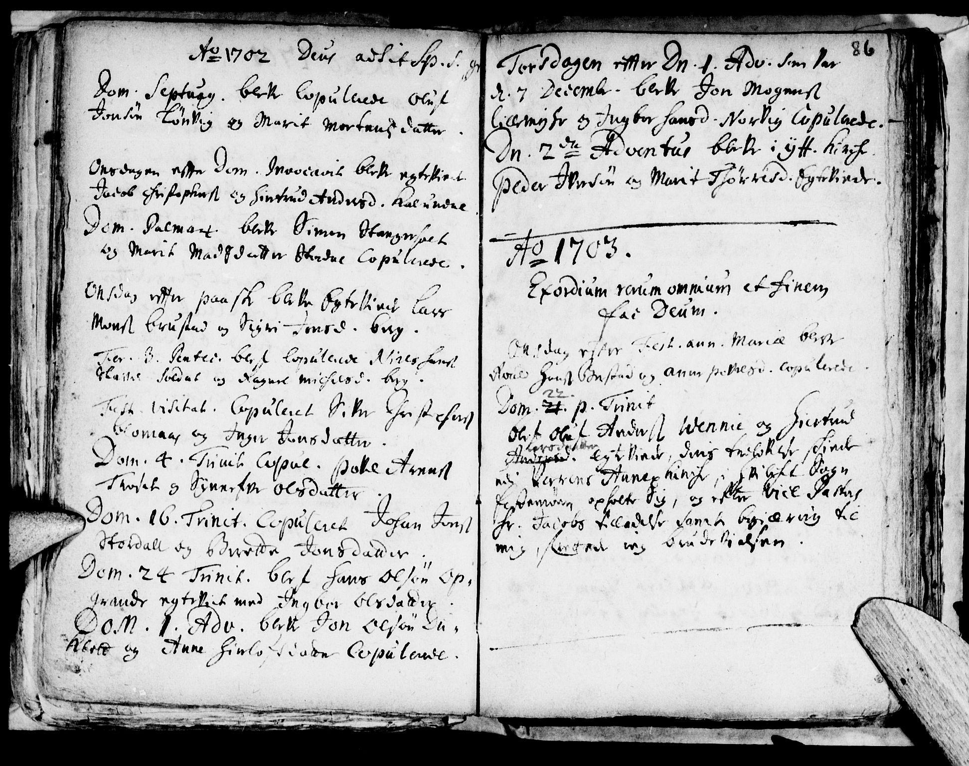 SAT, Ministerialprotokoller, klokkerbøker og fødselsregistre - Nord-Trøndelag, 722/L0214: Ministerialbok nr. 722A01, 1692-1718, s. 86