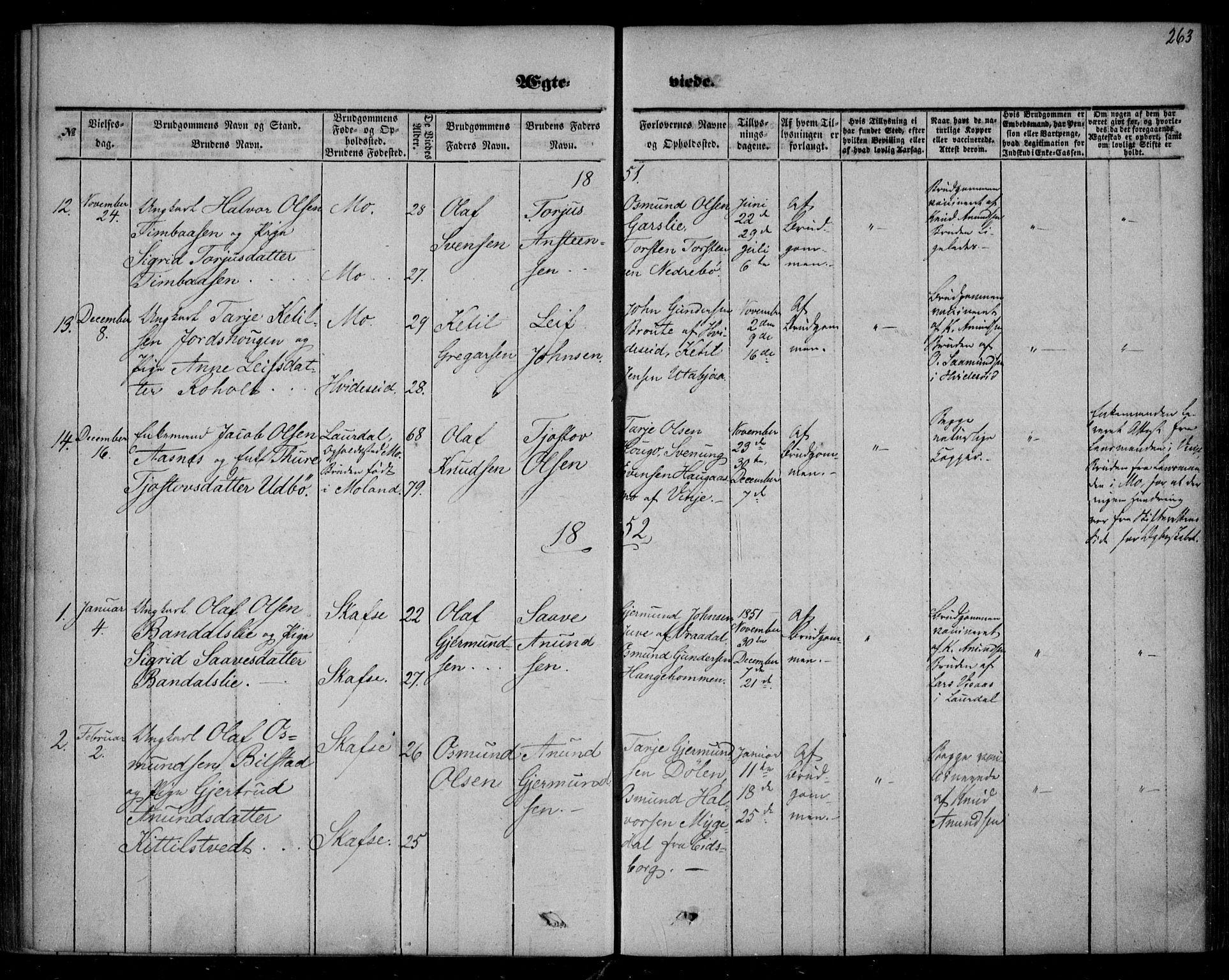 SAKO, Mo kirkebøker, F/Fa/L0005: Ministerialbok nr. I 5, 1844-1864, s. 263