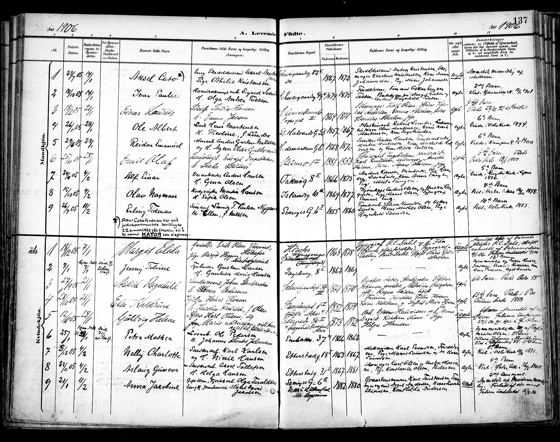SAO, Vålerengen prestekontor Kirkebøker, F/Fa/L0001: Ministerialbok nr. 1, 1899-1915, s. 137