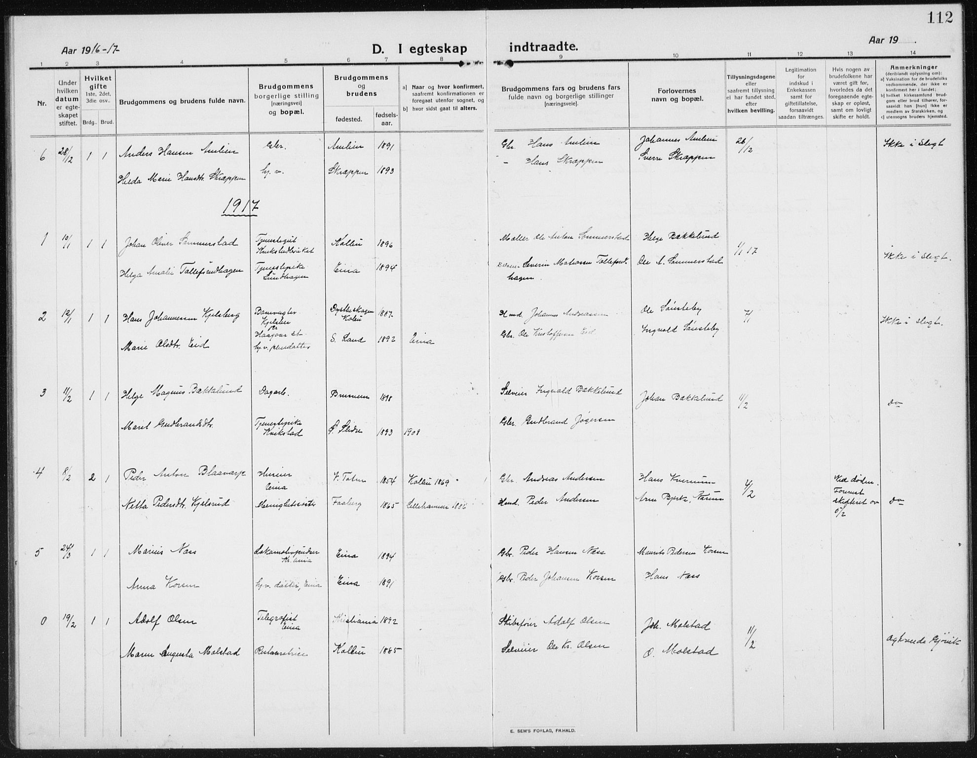 SAH, Kolbu prestekontor, Klokkerbok nr. 6, 1916-1934, s. 112