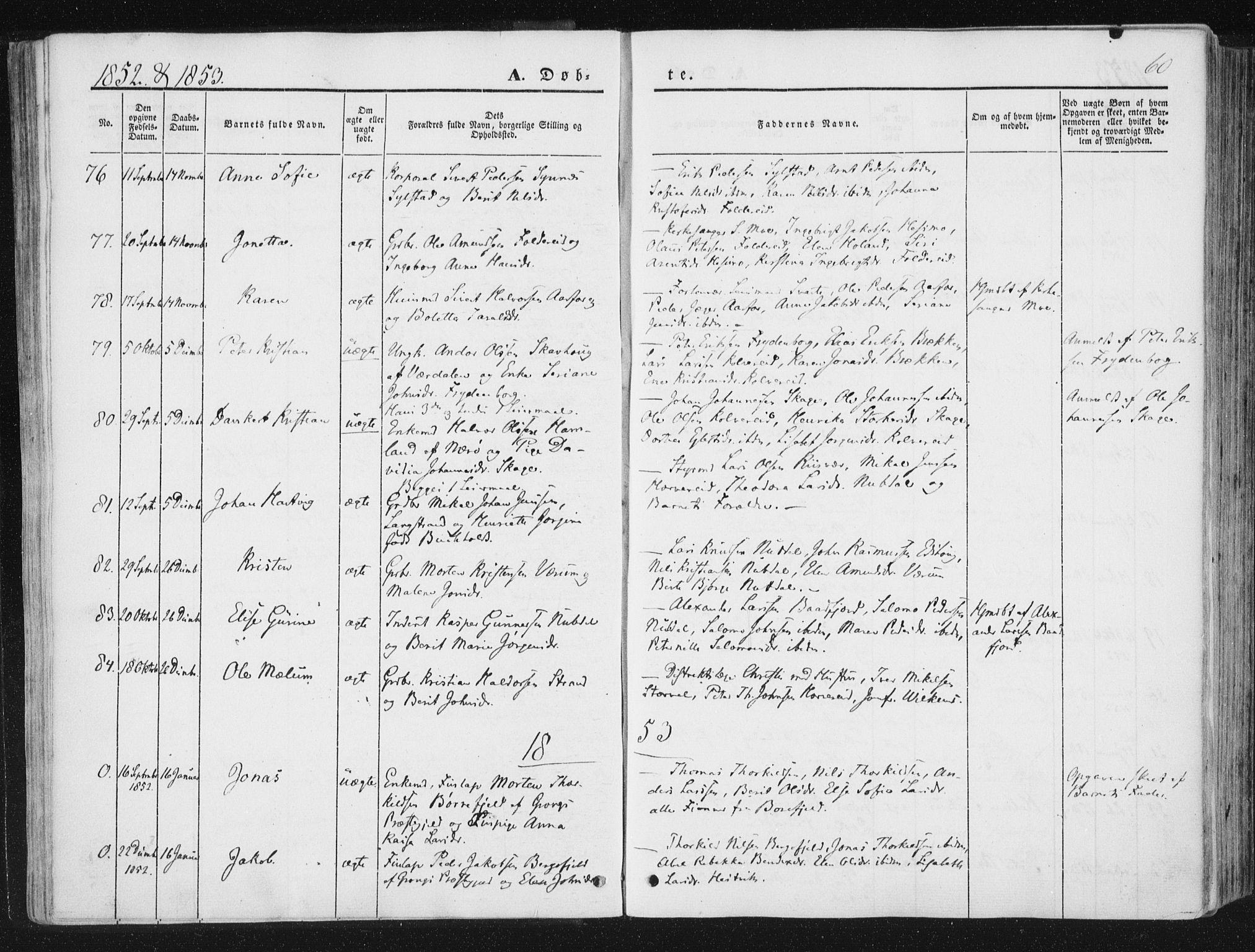 SAT, Ministerialprotokoller, klokkerbøker og fødselsregistre - Nord-Trøndelag, 780/L0640: Ministerialbok nr. 780A05, 1845-1856, s. 60