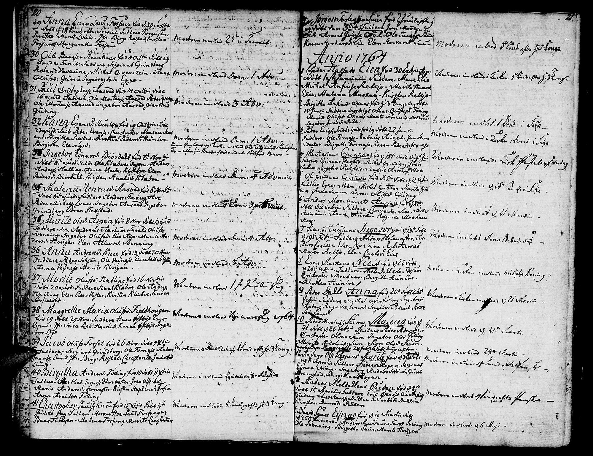 SAT, Ministerialprotokoller, klokkerbøker og fødselsregistre - Nord-Trøndelag, 746/L0440: Ministerialbok nr. 746A02, 1760-1815, s. 20-21