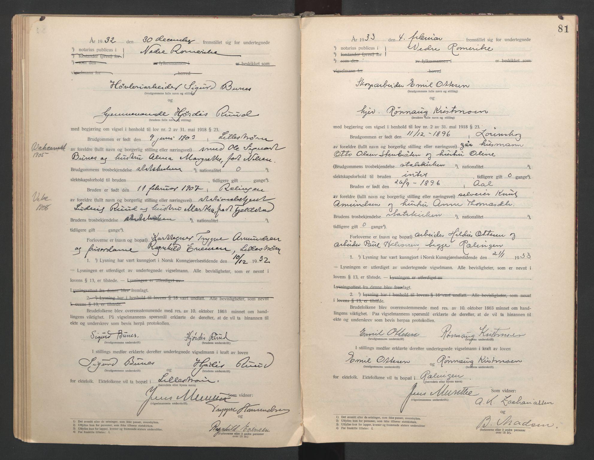 SAO, Nedre Romerike sorenskriveri, L/Lb/L0001: Vigselsbok - borgerlige vielser, 1920-1935, s. 81