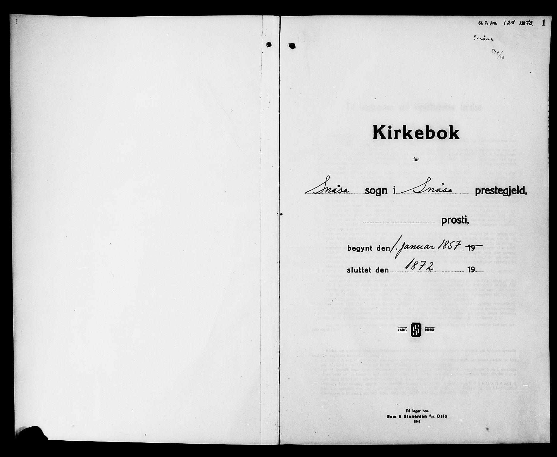 SAT, Ministerialprotokoller, klokkerbøker og fødselsregistre - Nord-Trøndelag, 749/L0485: Ministerialbok nr. 749D01, 1857-1872, s. 1