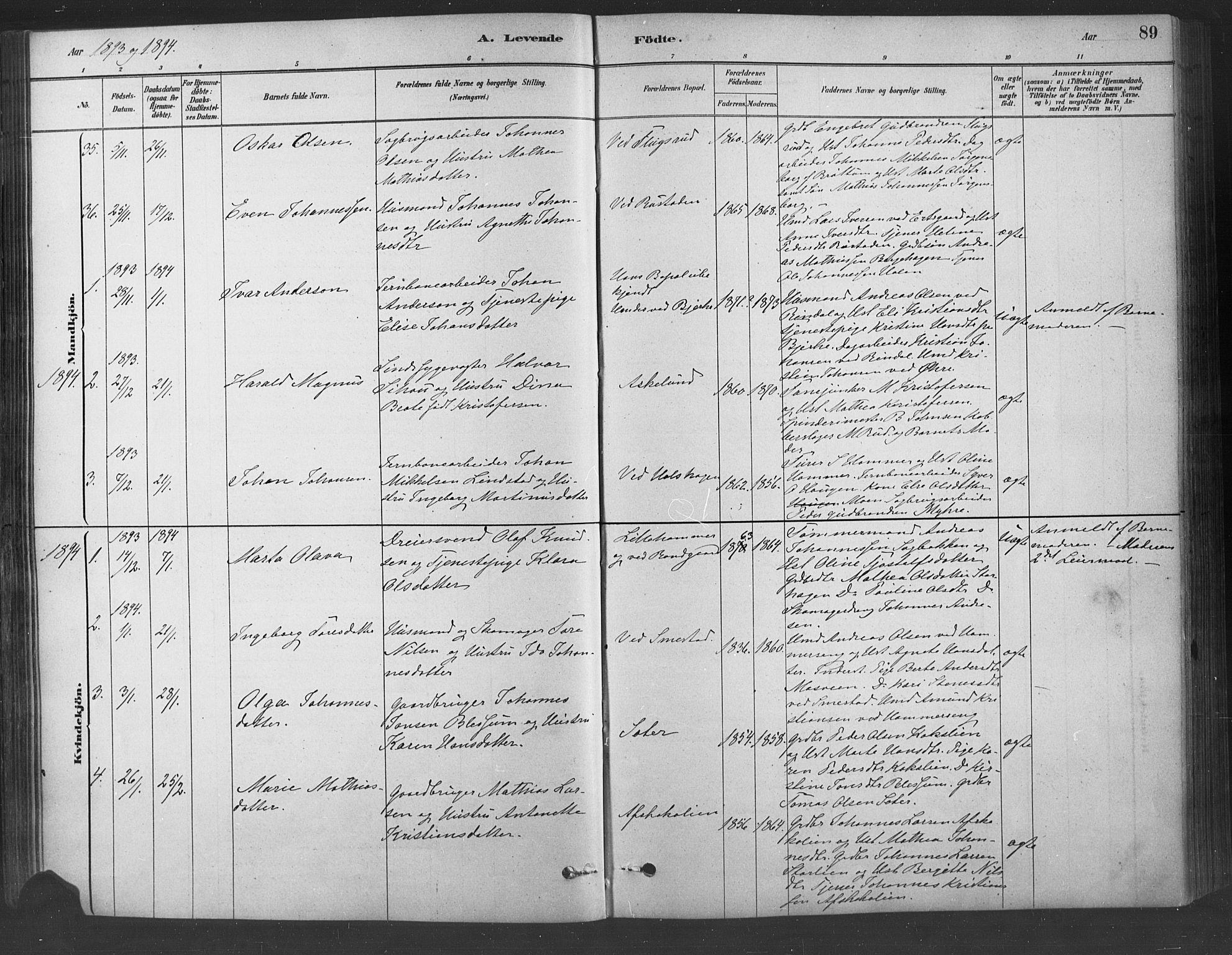SAH, Fåberg prestekontor, Ministerialbok nr. 9, 1879-1898, s. 89