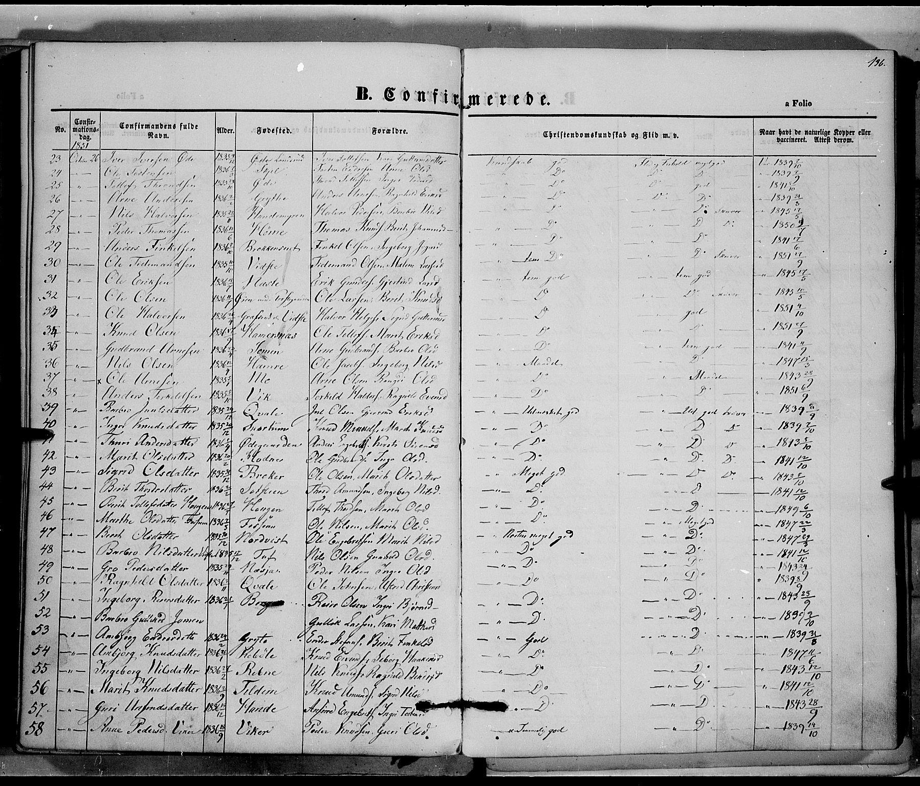 SAH, Vestre Slidre prestekontor, Ministerialbok nr. 1, 1844-1855, s. 136