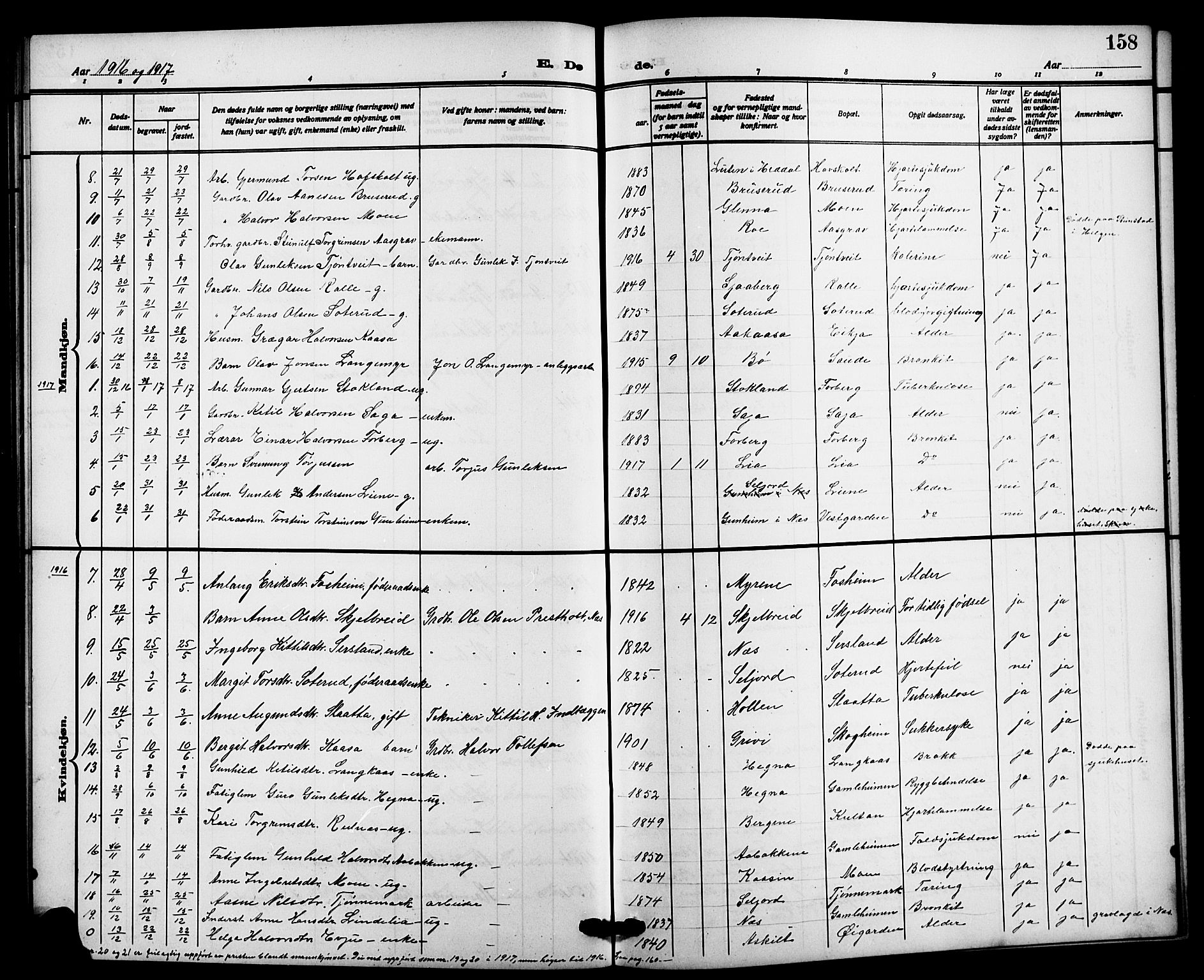 SAKO, Bø kirkebøker, G/Ga/L0007: Klokkerbok nr. 7, 1909-1924, s. 158