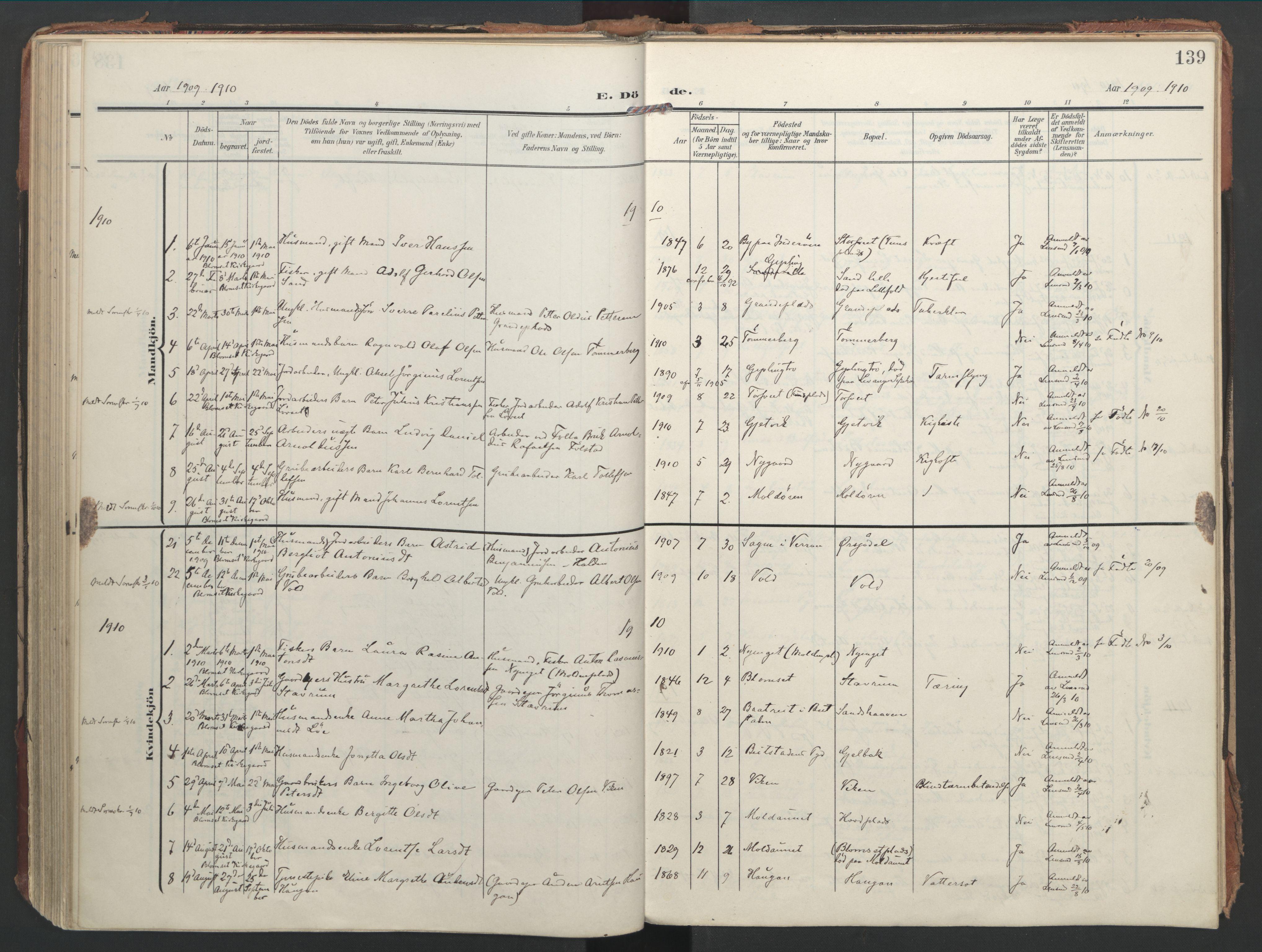 SAT, Ministerialprotokoller, klokkerbøker og fødselsregistre - Nord-Trøndelag, 744/L0421: Ministerialbok nr. 744A05, 1905-1930, s. 139