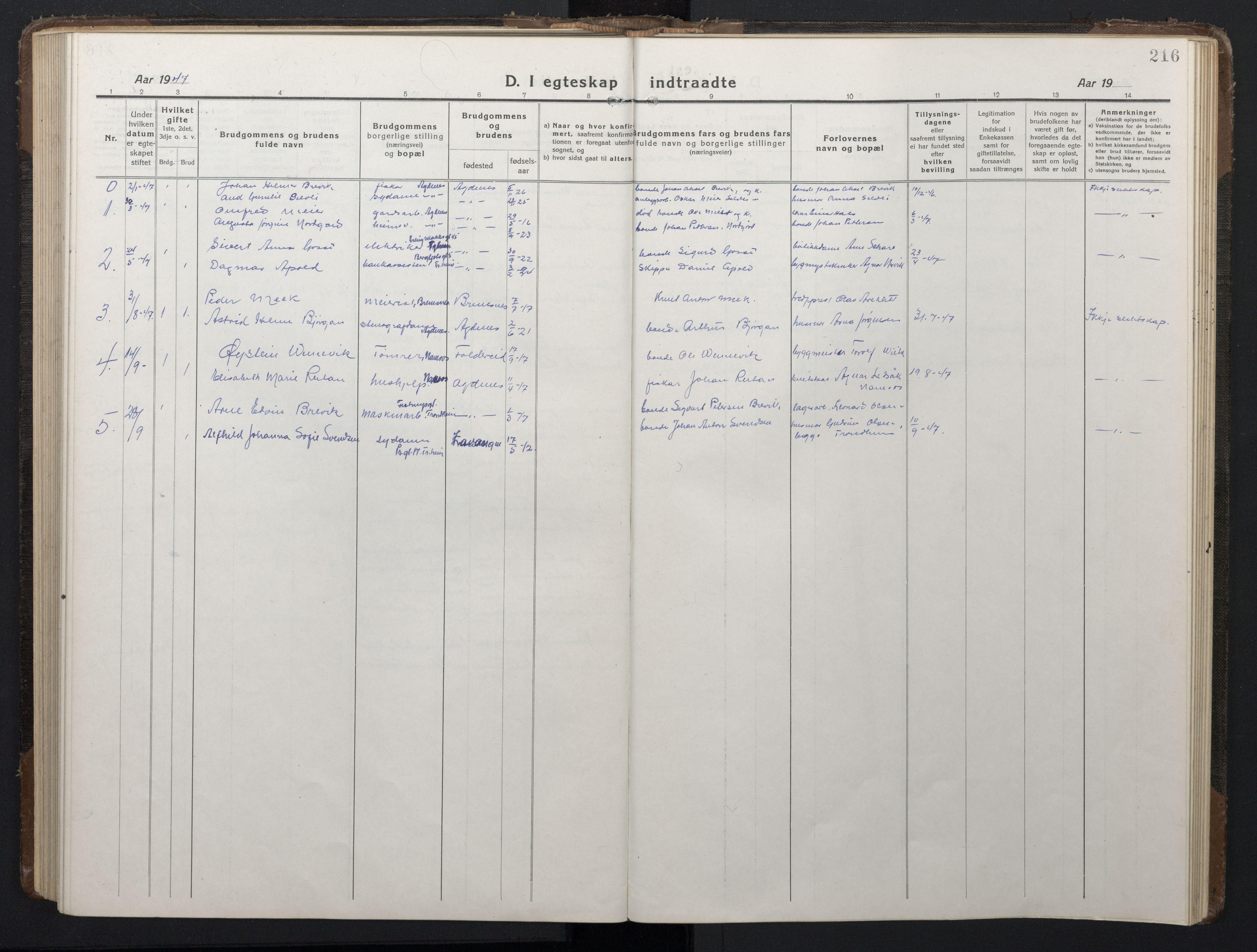 SAT, Ministerialprotokoller, klokkerbøker og fødselsregistre - Sør-Trøndelag, 662/L0758: Klokkerbok nr. 662C03, 1918-1948, s. 216
