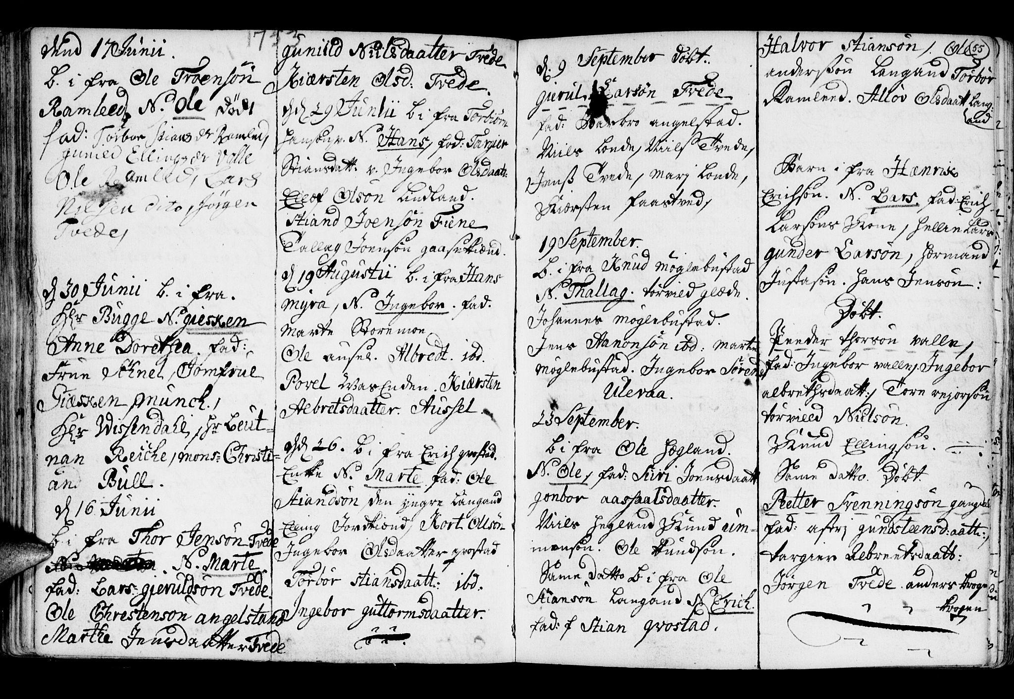 SAK, Holt sokneprestkontor, F/Fb/L0005: Klokkerbok nr. B 5, 1746-1764, s. 55