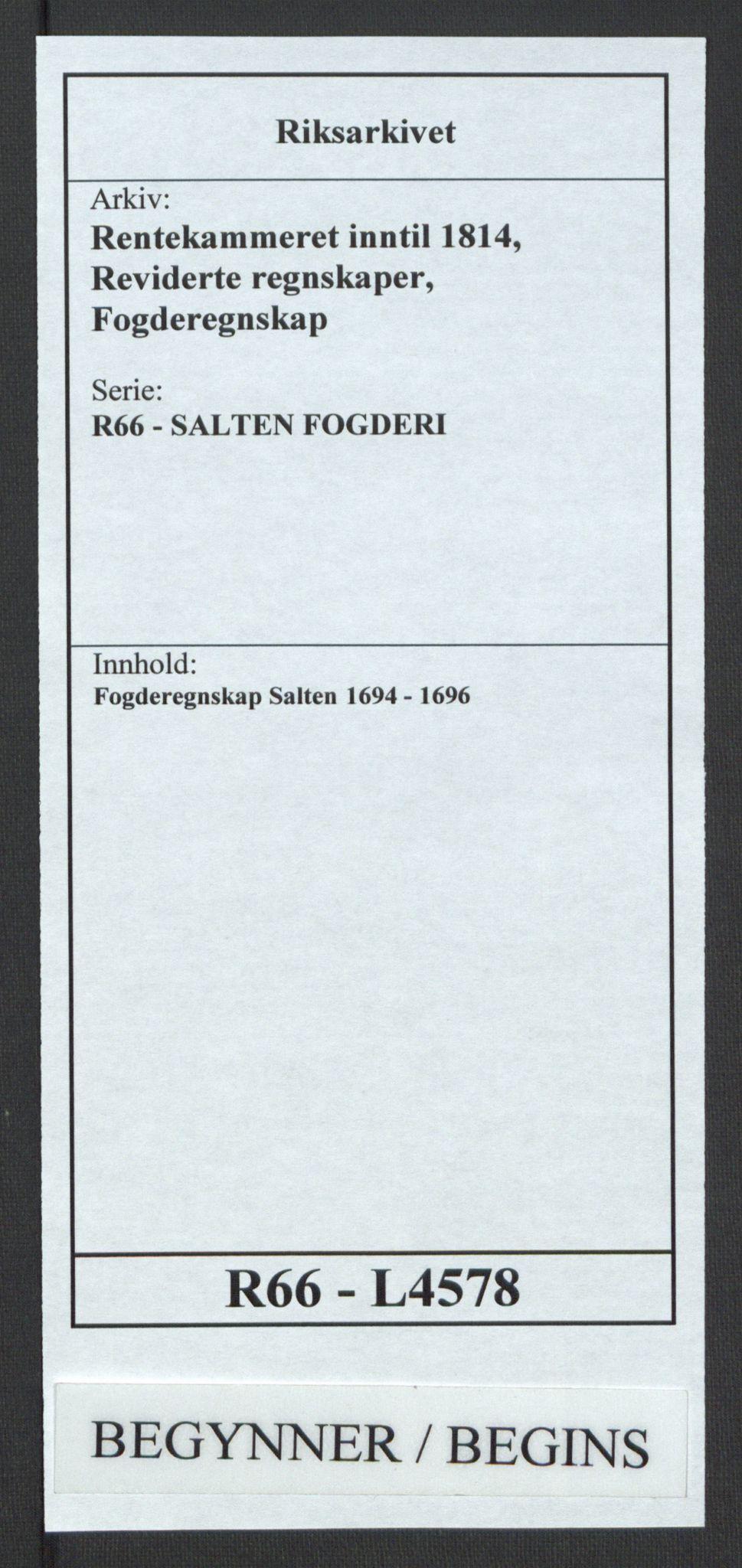 RA, Rentekammeret inntil 1814, Reviderte regnskaper, Fogderegnskap, R66/L4578: Fogderegnskap Salten, 1694-1696, s. 1