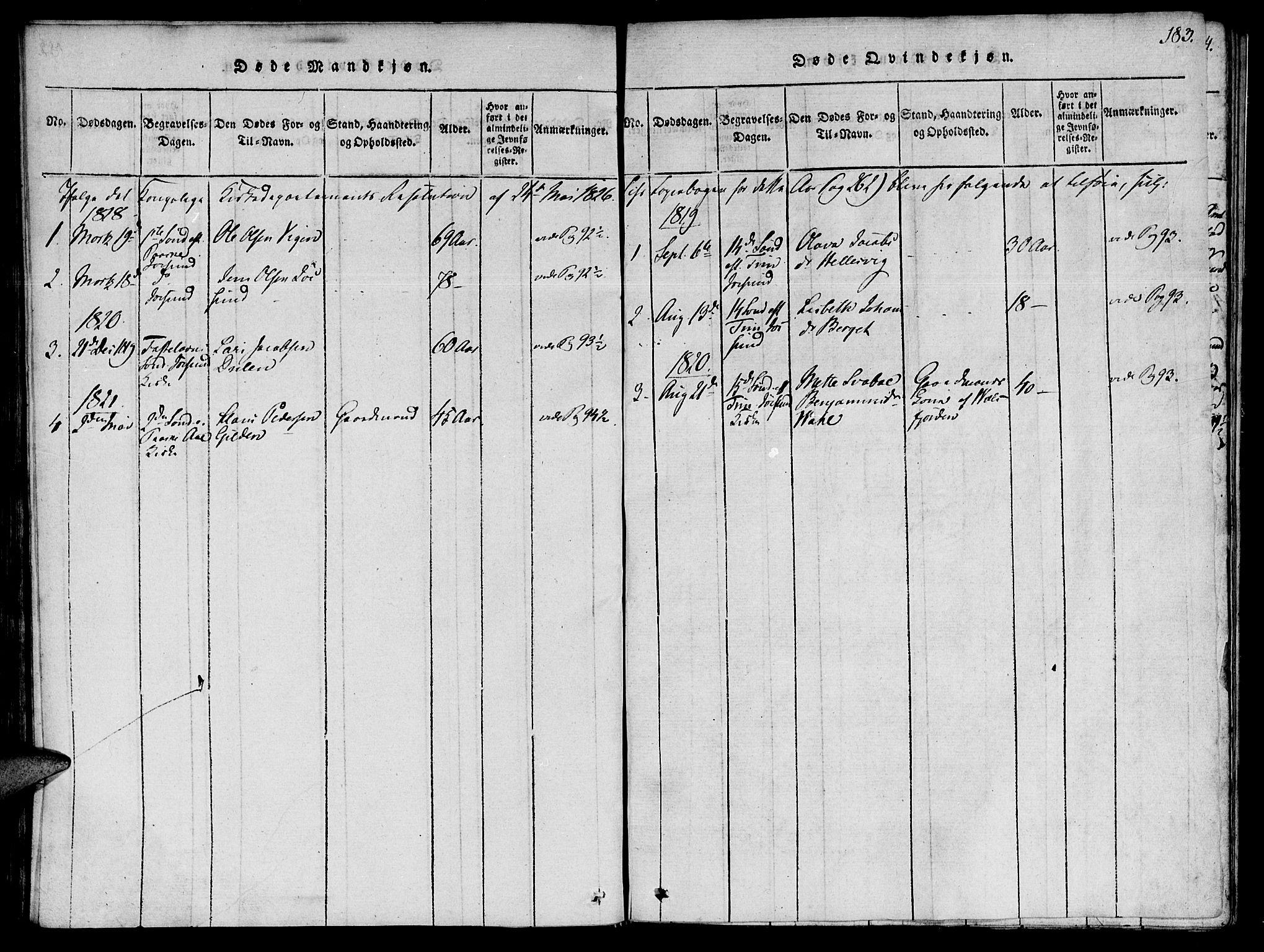 SAT, Ministerialprotokoller, klokkerbøker og fødselsregistre - Sør-Trøndelag, 655/L0675: Ministerialbok nr. 655A04, 1818-1830, s. 183