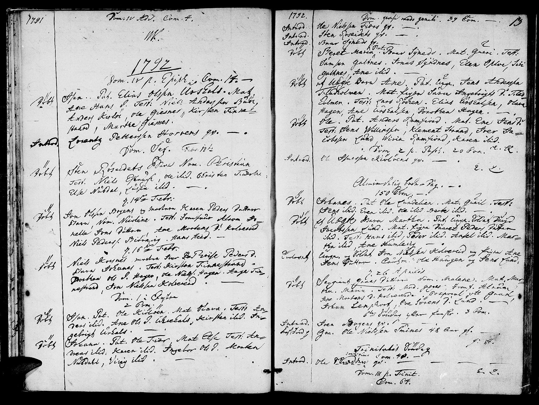 SAT, Ministerialprotokoller, klokkerbøker og fødselsregistre - Nord-Trøndelag, 780/L0633: Ministerialbok nr. 780A02 /1, 1787-1814, s. 13