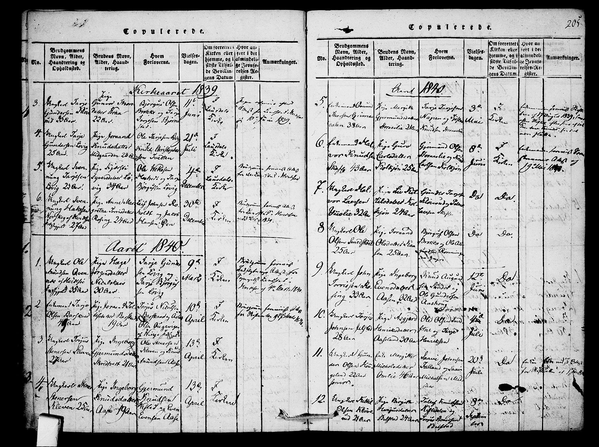 SAKO, Mo kirkebøker, F/Fb/L0001: Ministerialbok nr. II 1, 1814-1844, s. 205