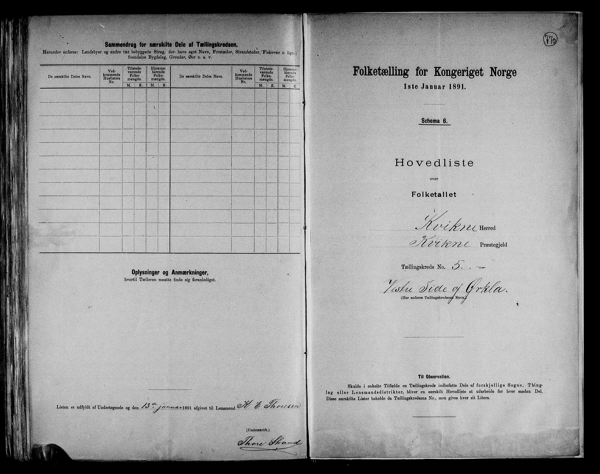 RA, Folketelling 1891 for 0440 Kvikne herred, 1891, s. 13