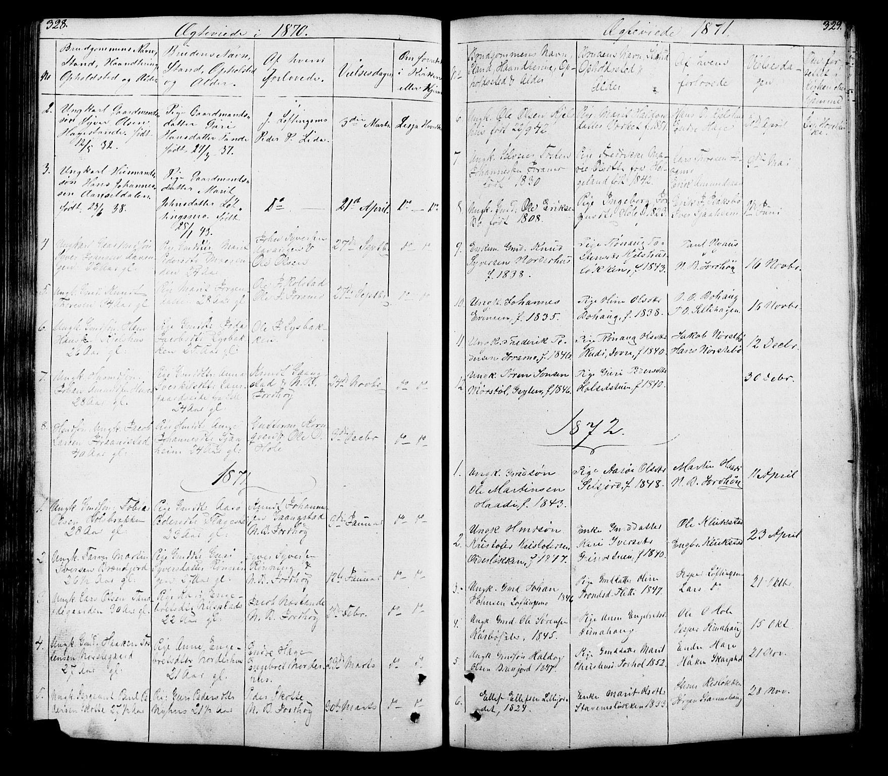 SAH, Lesja prestekontor, Klokkerbok nr. 5, 1850-1894, s. 328-329