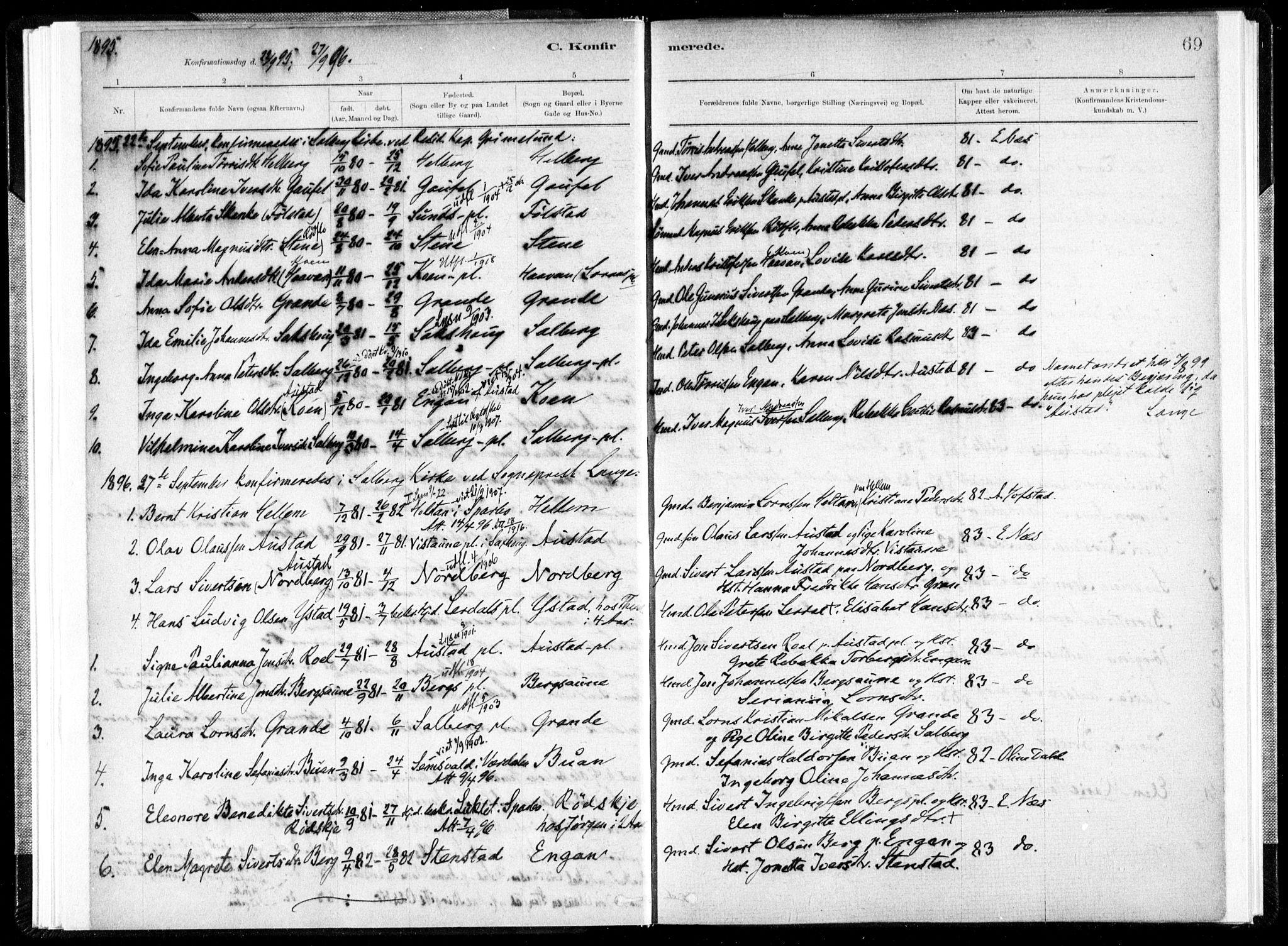 SAT, Ministerialprotokoller, klokkerbøker og fødselsregistre - Nord-Trøndelag, 731/L0309: Ministerialbok nr. 731A01, 1879-1918, s. 69