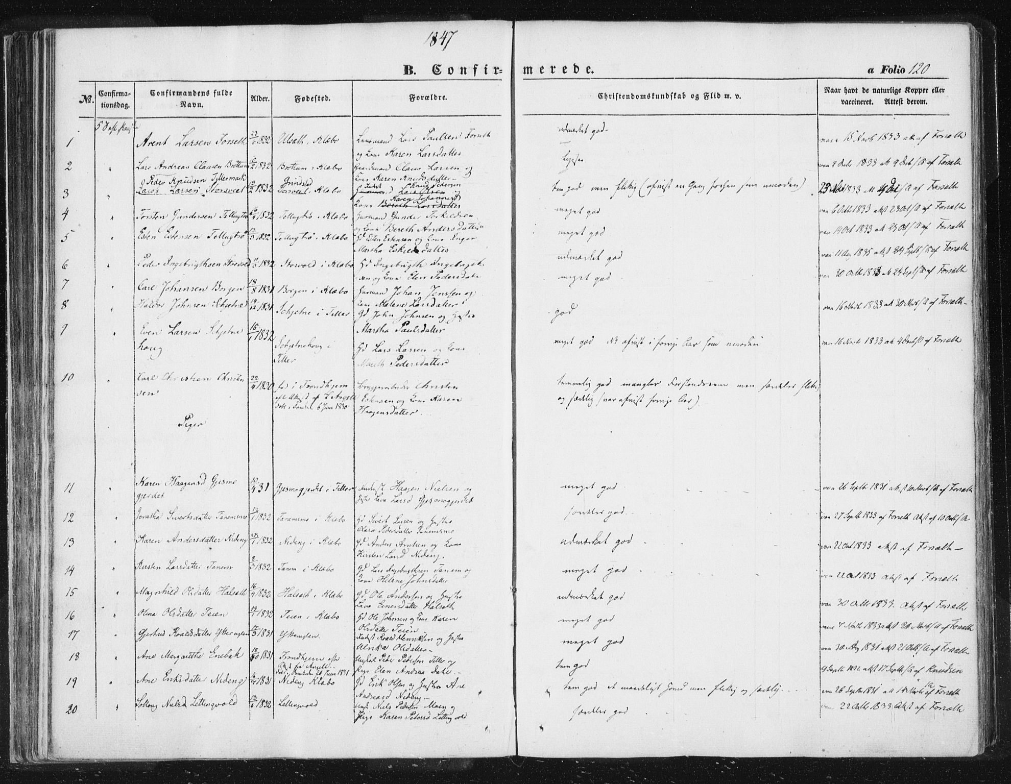 SAT, Ministerialprotokoller, klokkerbøker og fødselsregistre - Sør-Trøndelag, 618/L0441: Ministerialbok nr. 618A05, 1843-1862, s. 120