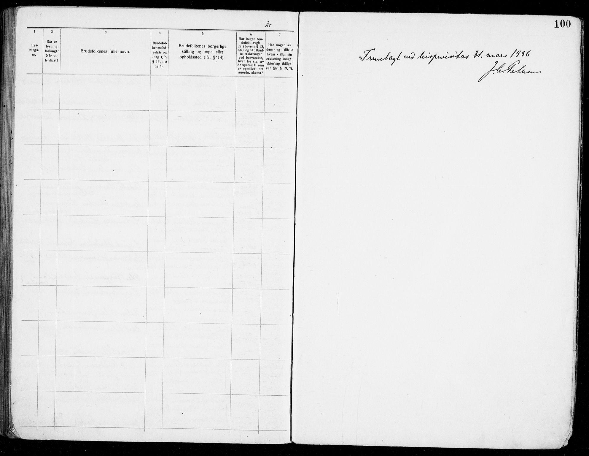 SAST, Haugesund sokneprestkontor, I/Ie/L0006: Lysningsprotokoll nr. VIII 6, 1926-1936, s. 100